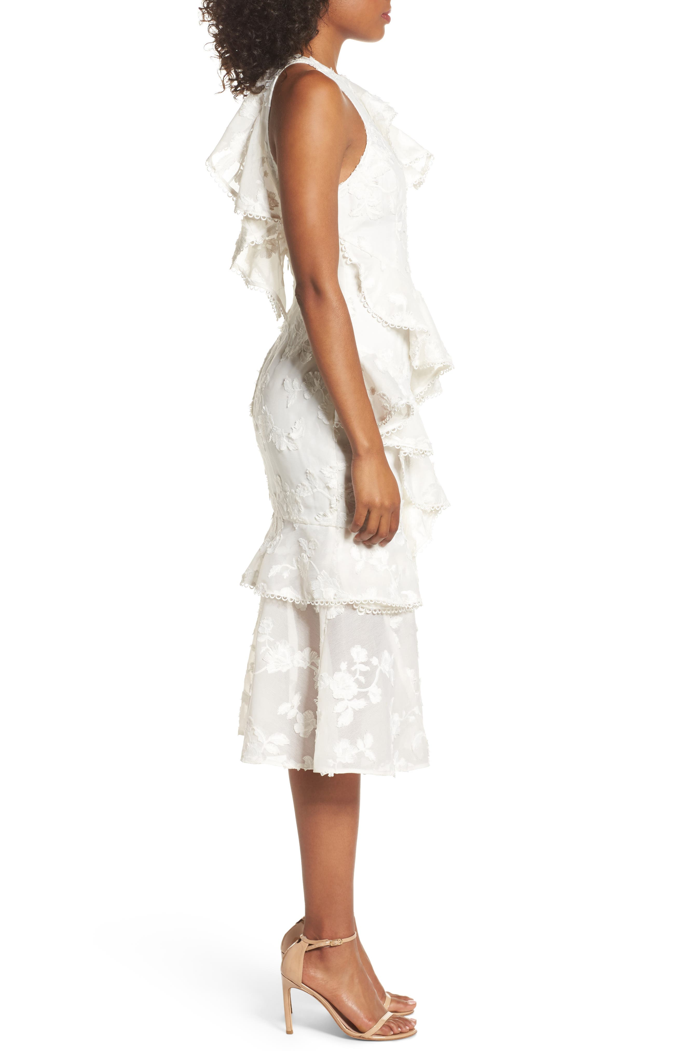 Shine Ruffle Lace Tea Length Dress,                             Alternate thumbnail 3, color,                             Ivory