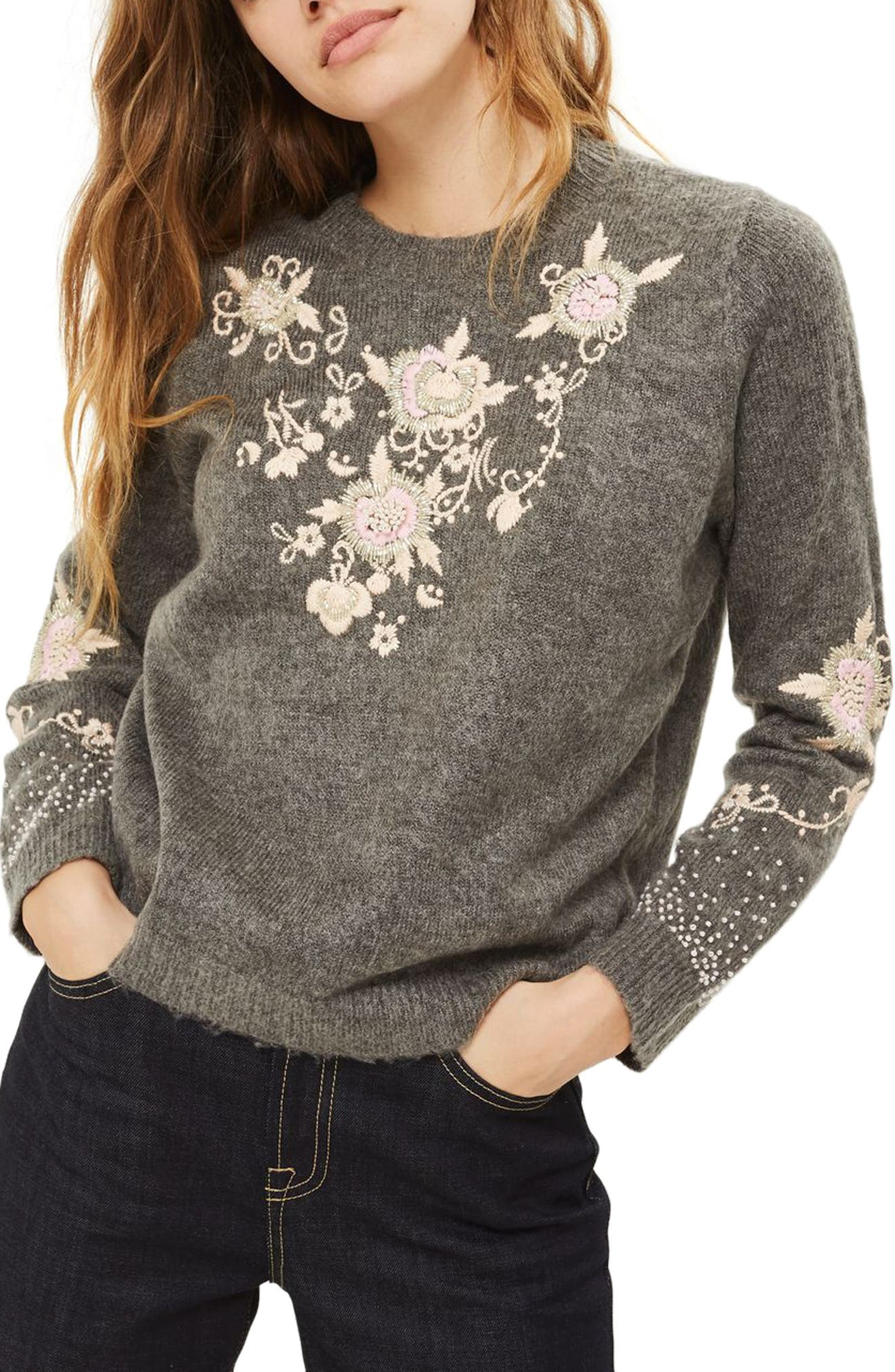 Main Image - Topshop Beaded Embroidered Sweater