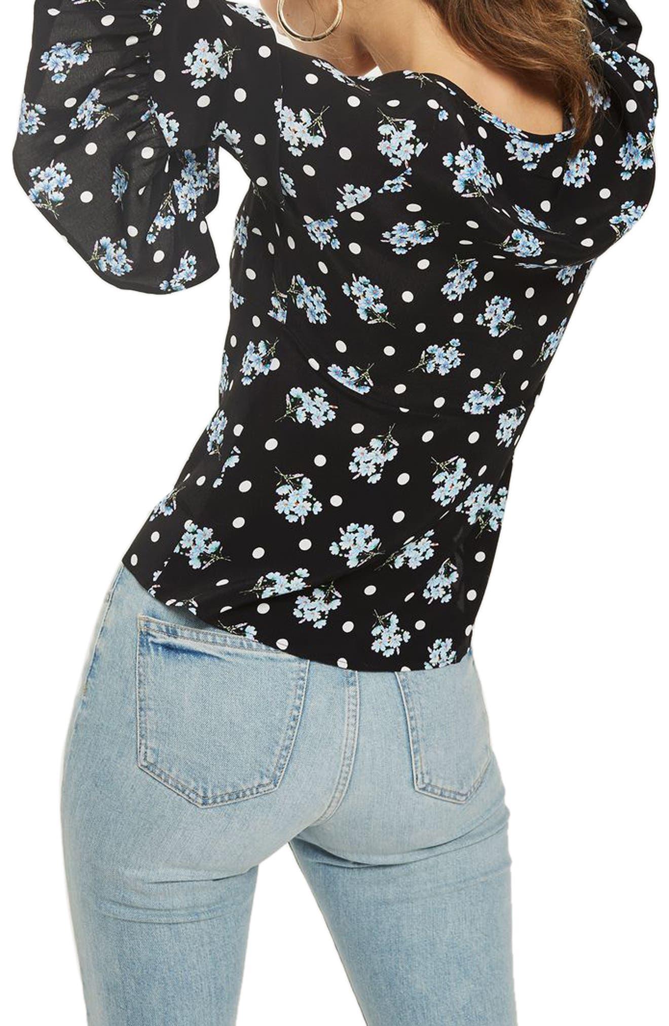 Felicity Spot Floral Tie Front Blouse,                             Alternate thumbnail 3, color,                             Black Multi