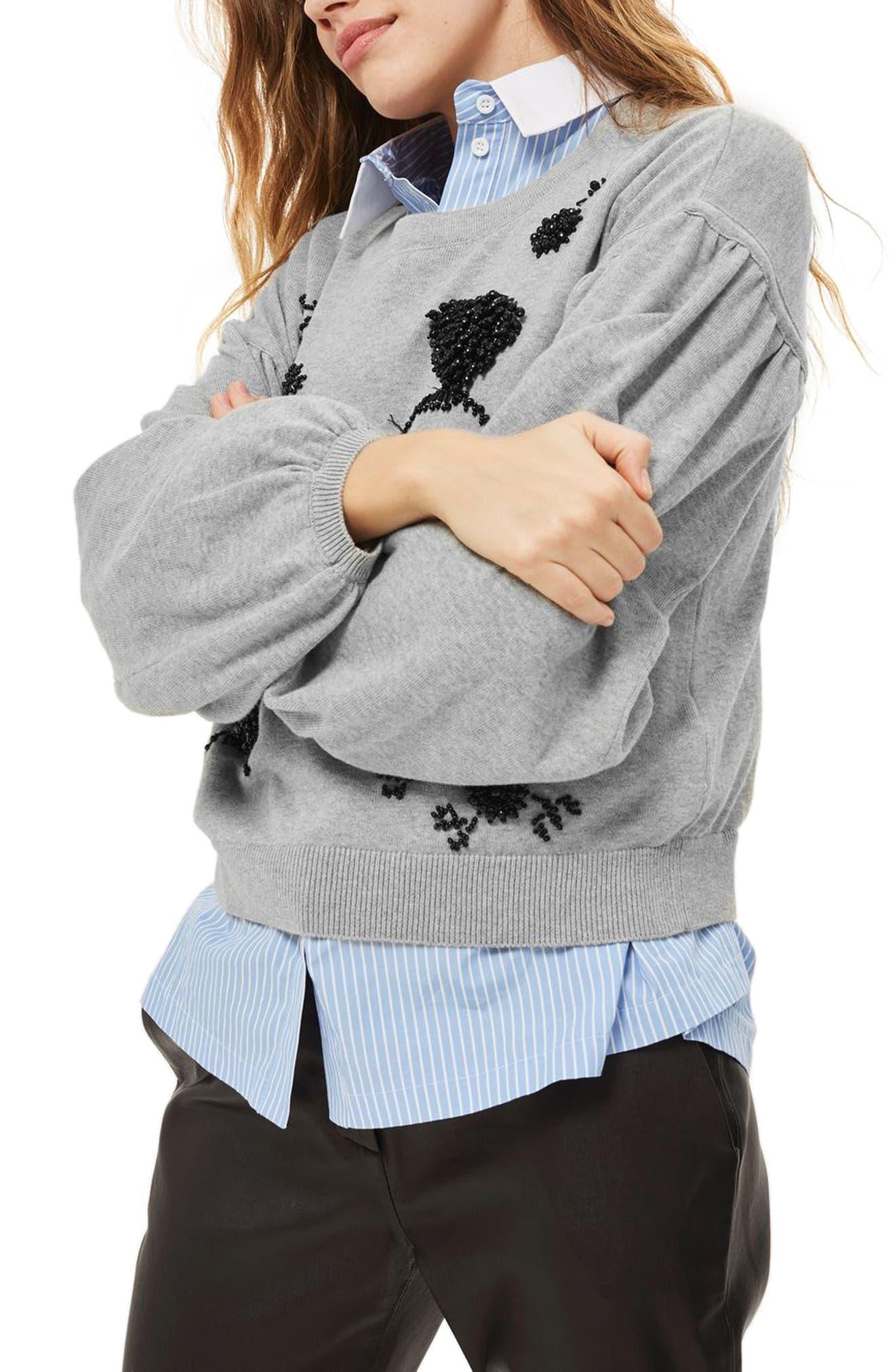 Beaded Balloon Sleeve Sweater,                         Main,                         color, Grey Marl Multi