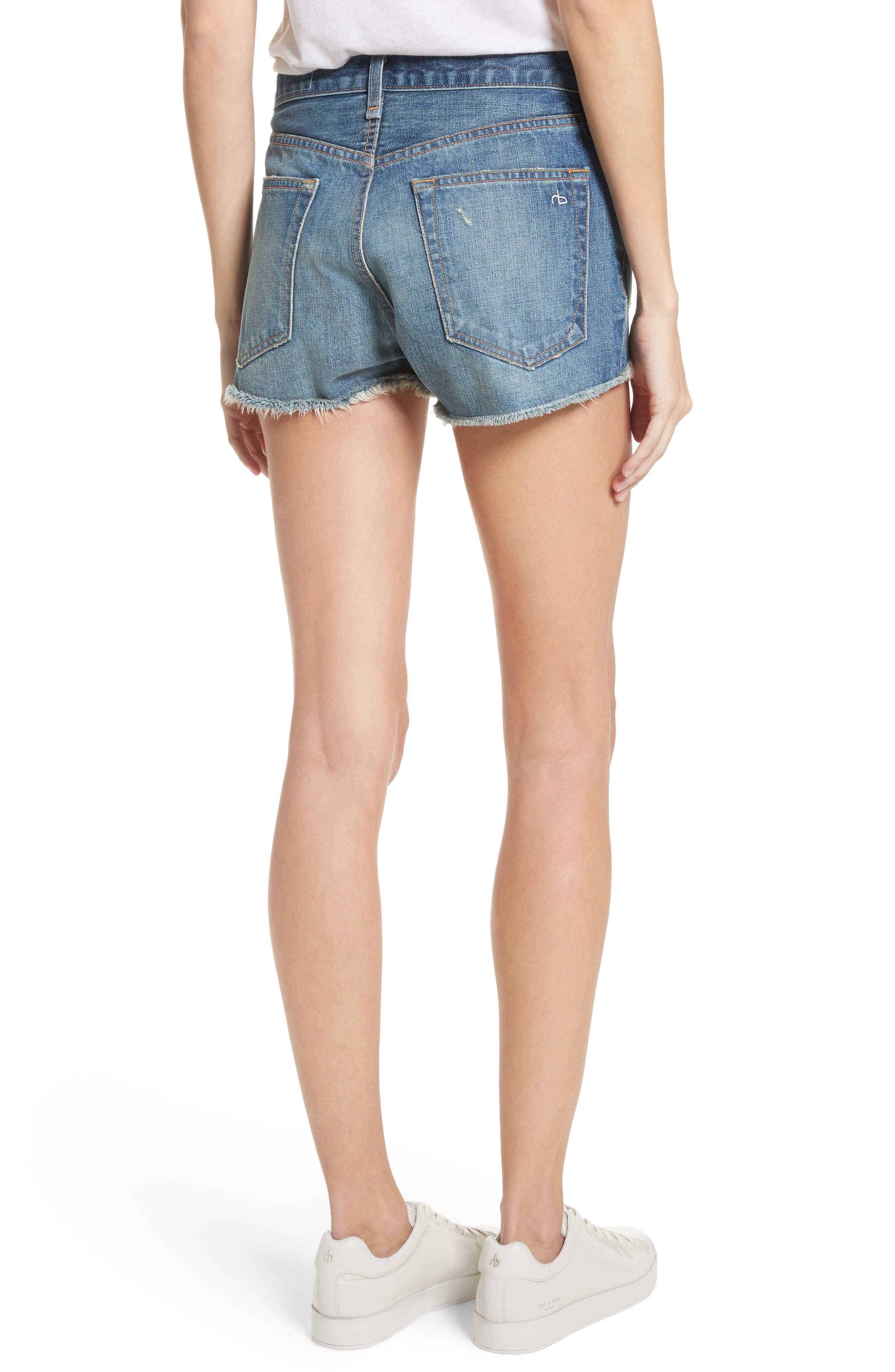 Margaux High Waist Denim Shorts,                             Alternate thumbnail 2, color,                             Rocka Rolla