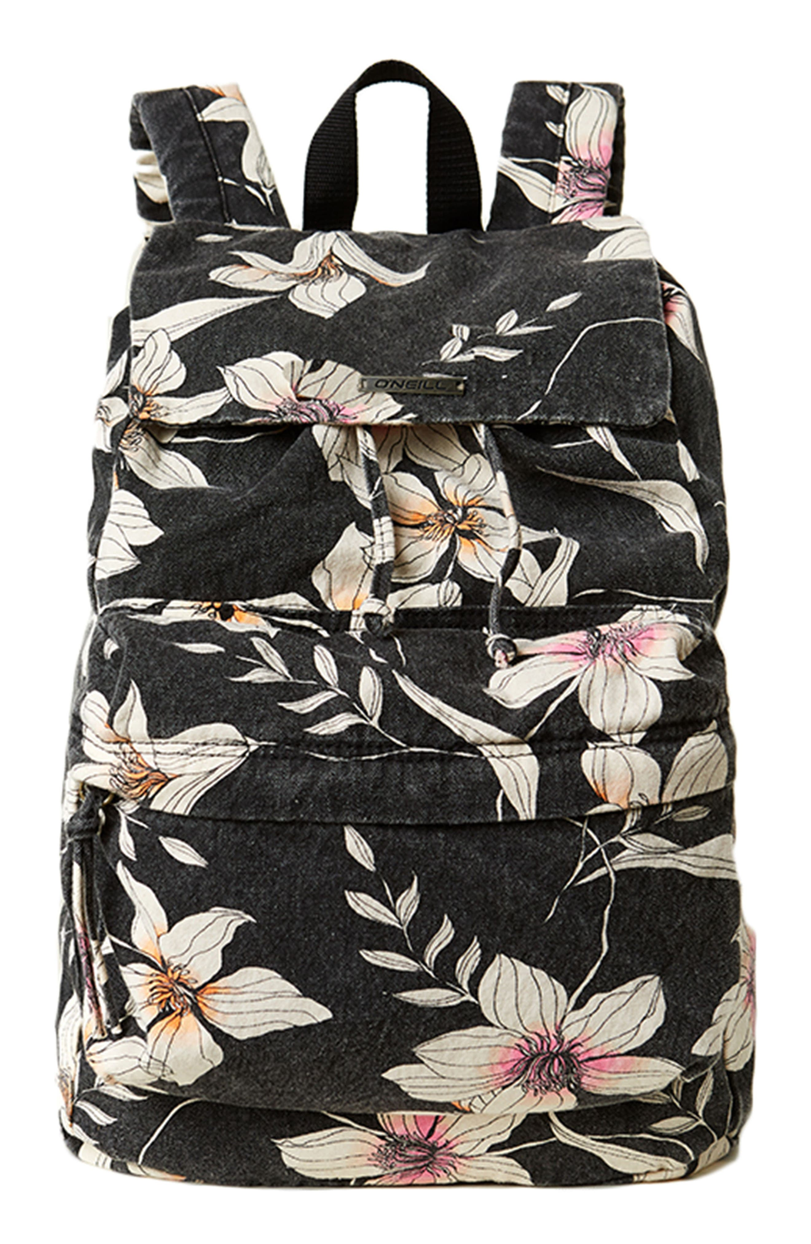 Starboard Floral Print Canvas Backpack,                             Main thumbnail 1, color,                             Black