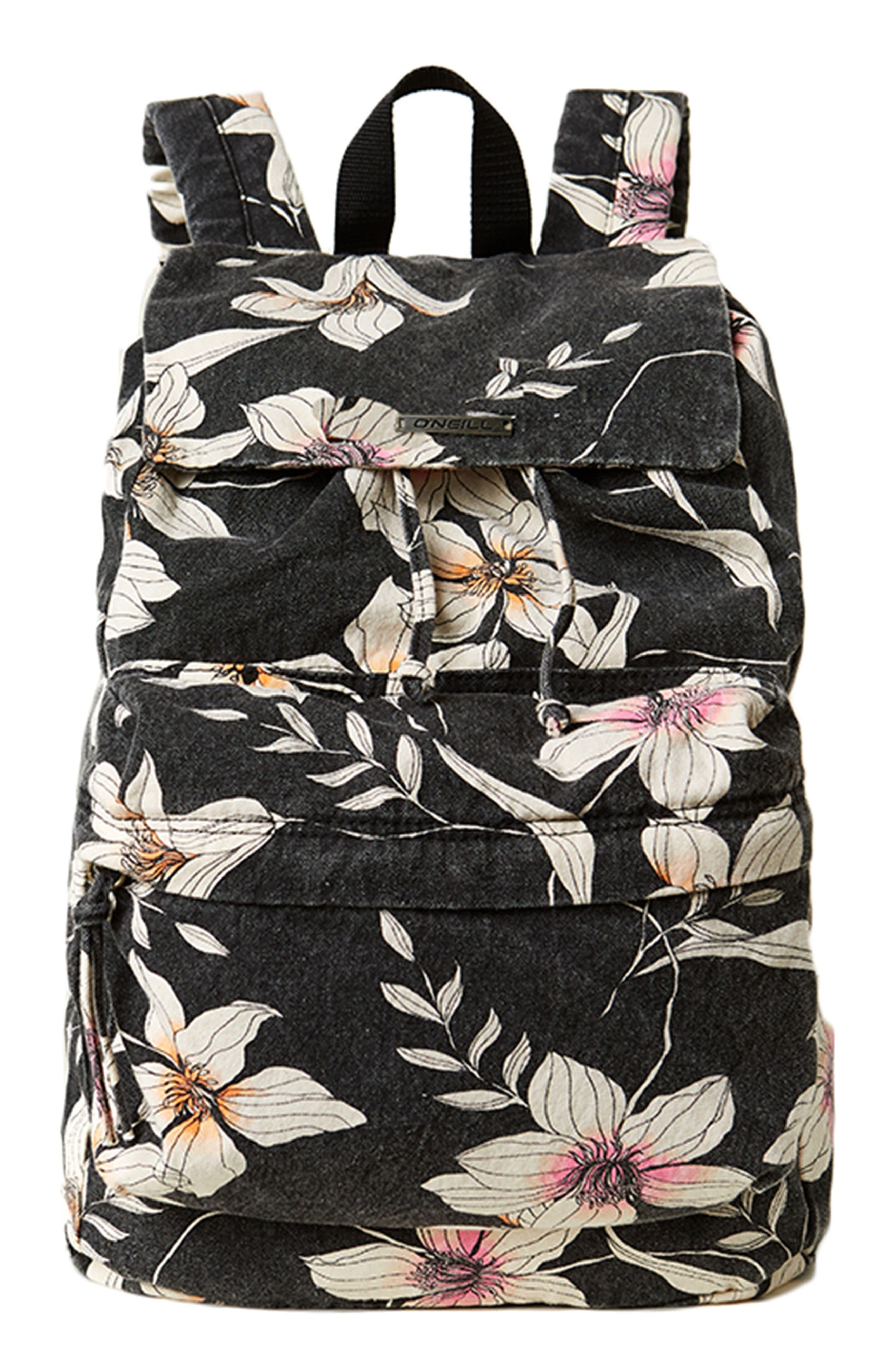 Starboard Floral Print Canvas Backpack,                         Main,                         color, Black
