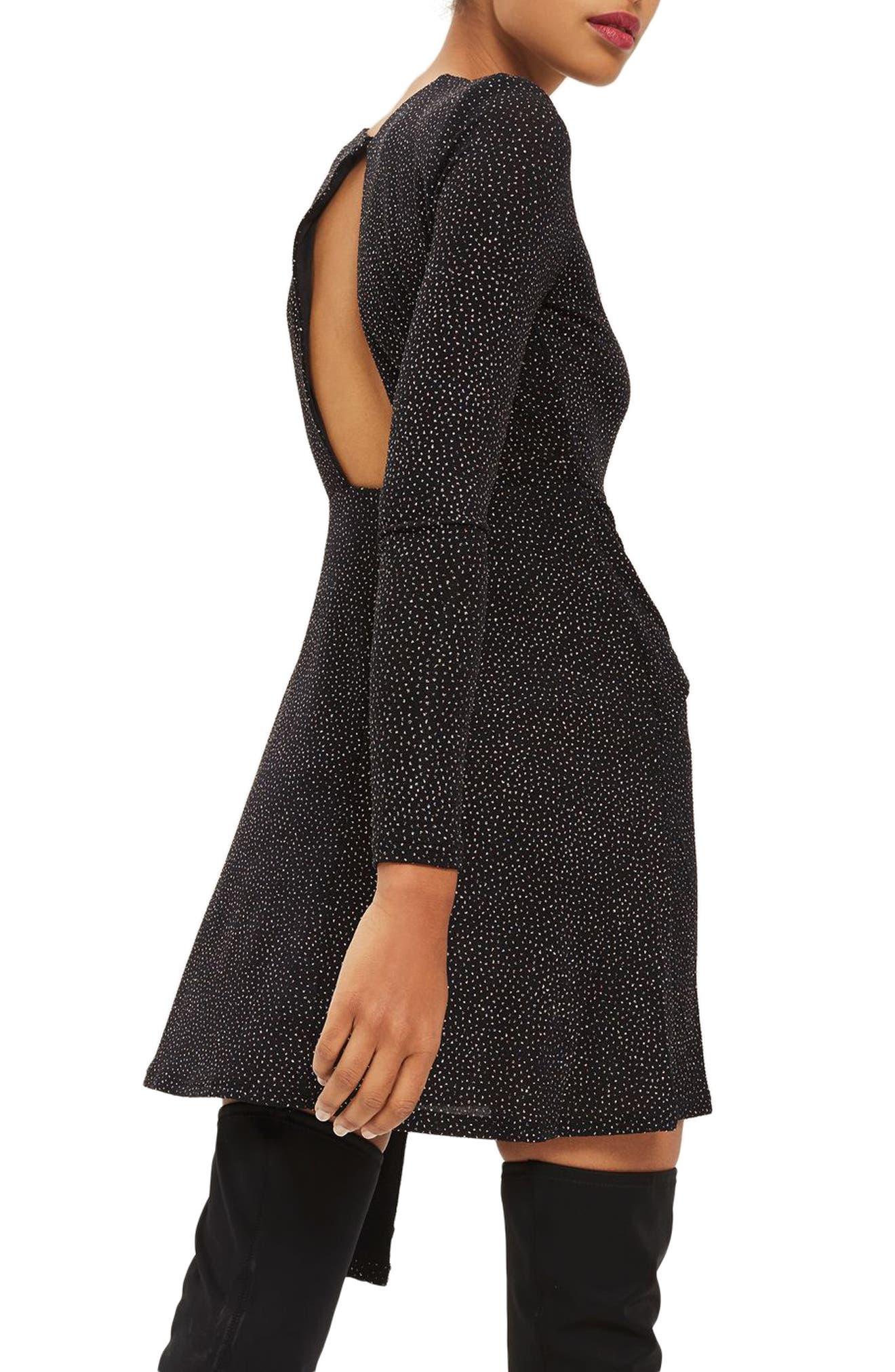 Asymmetrical Drape Glitter Dress,                             Alternate thumbnail 2, color,                             Black Multi
