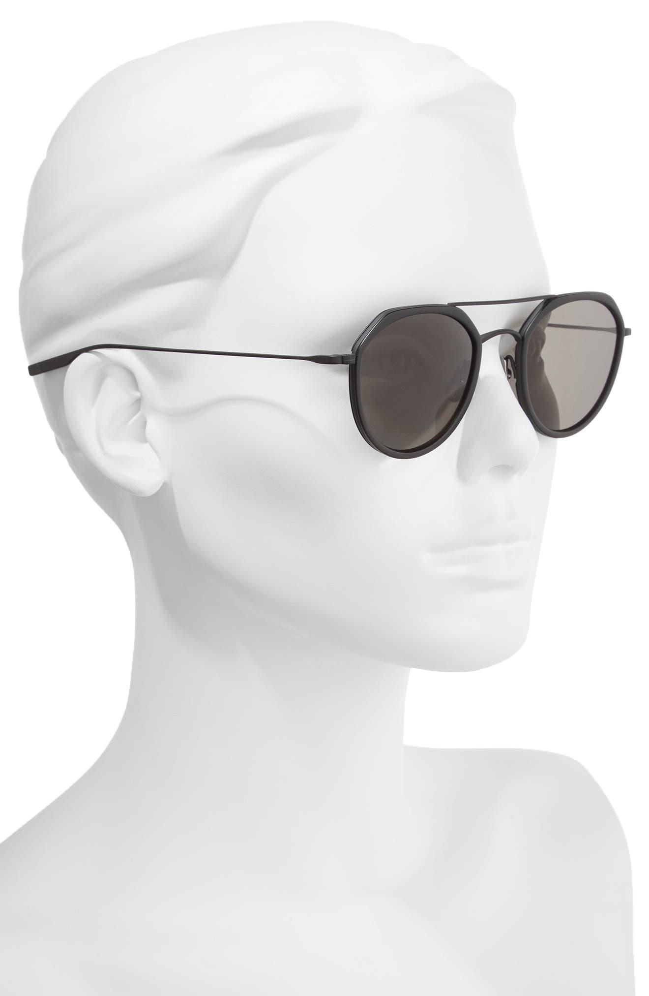 Dibergi Resin 50mm Polarized Round Sunglasses,                             Alternate thumbnail 2, color,                             Matte Black/ Black Sand