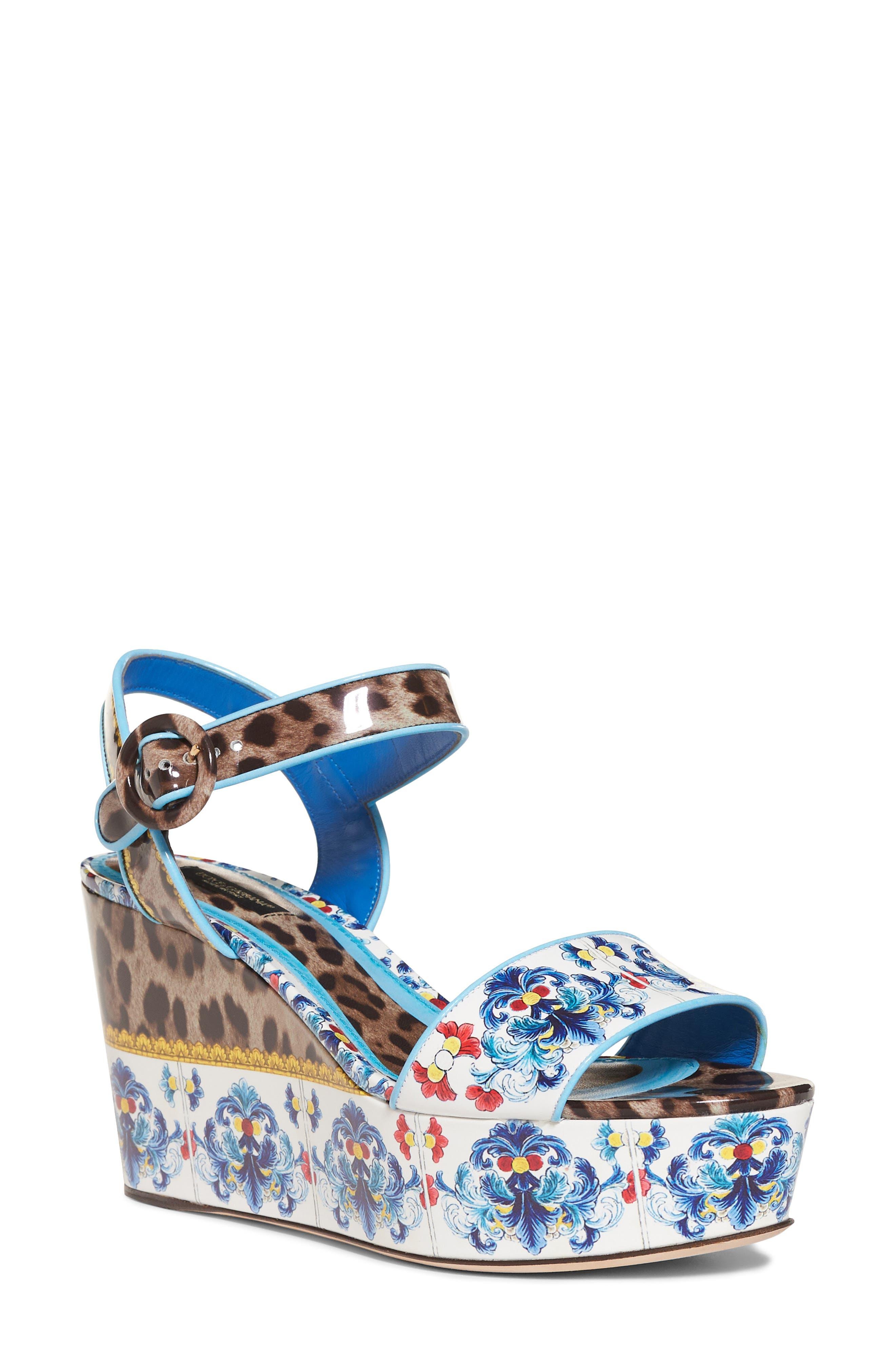 Dolce&Gabbana Majolica & Leopard Print Flatform Sandal (Women)