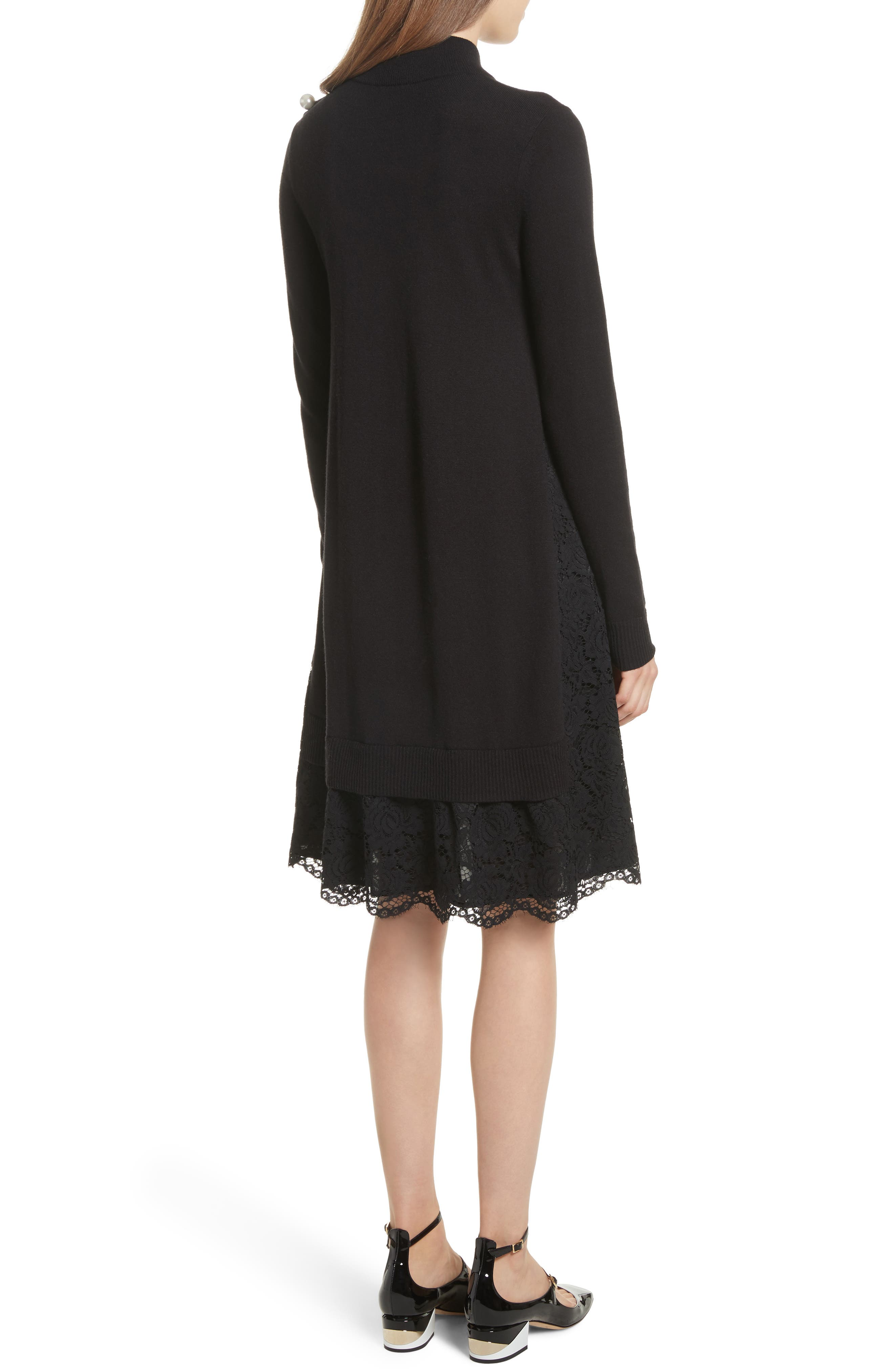 lace inset sweater dress,                             Alternate thumbnail 2, color,                             Black