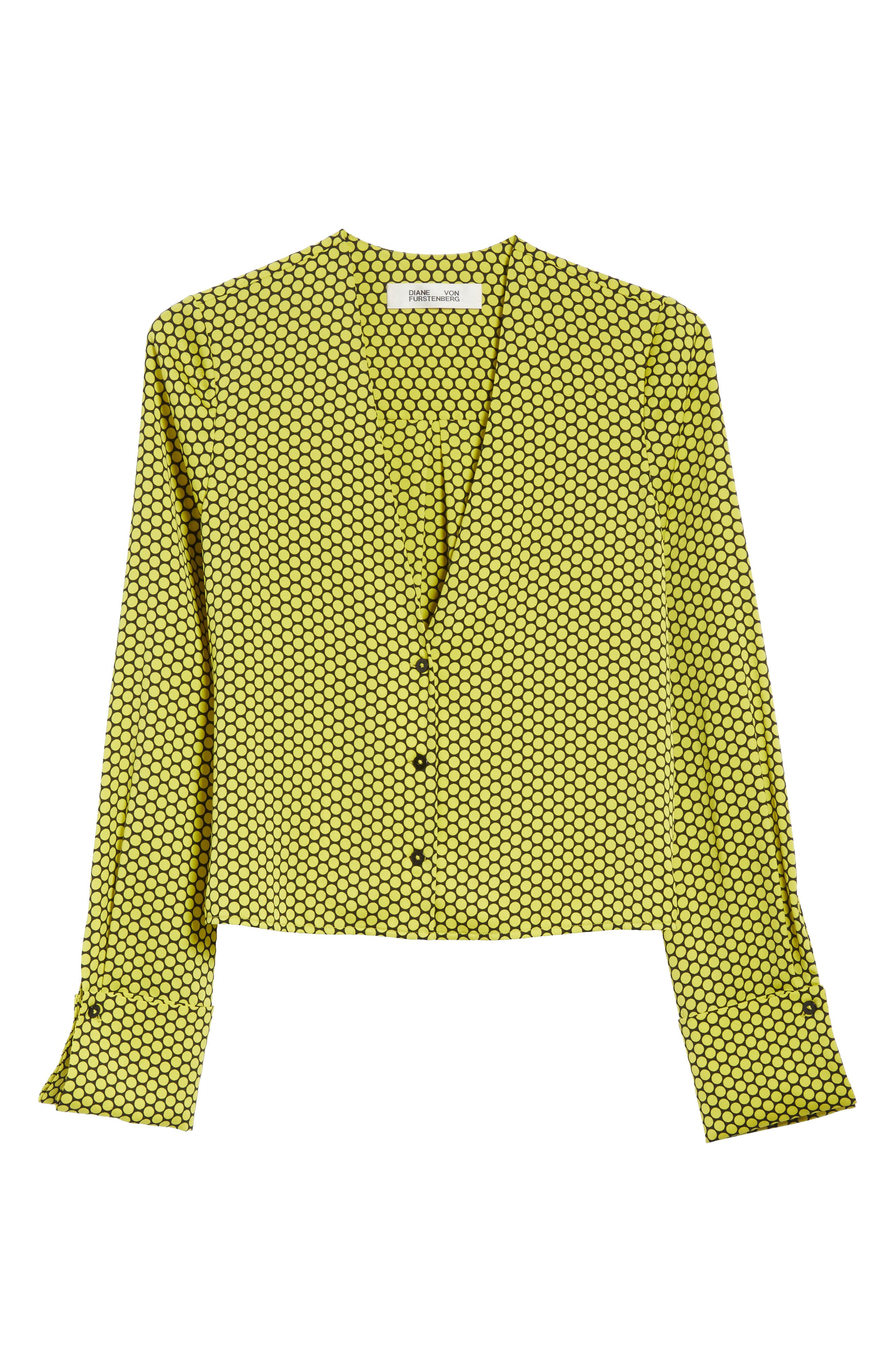 Double Cuff Stretch Silk Blouse,                             Alternate thumbnail 6, color,                             Rowe Dot Citron