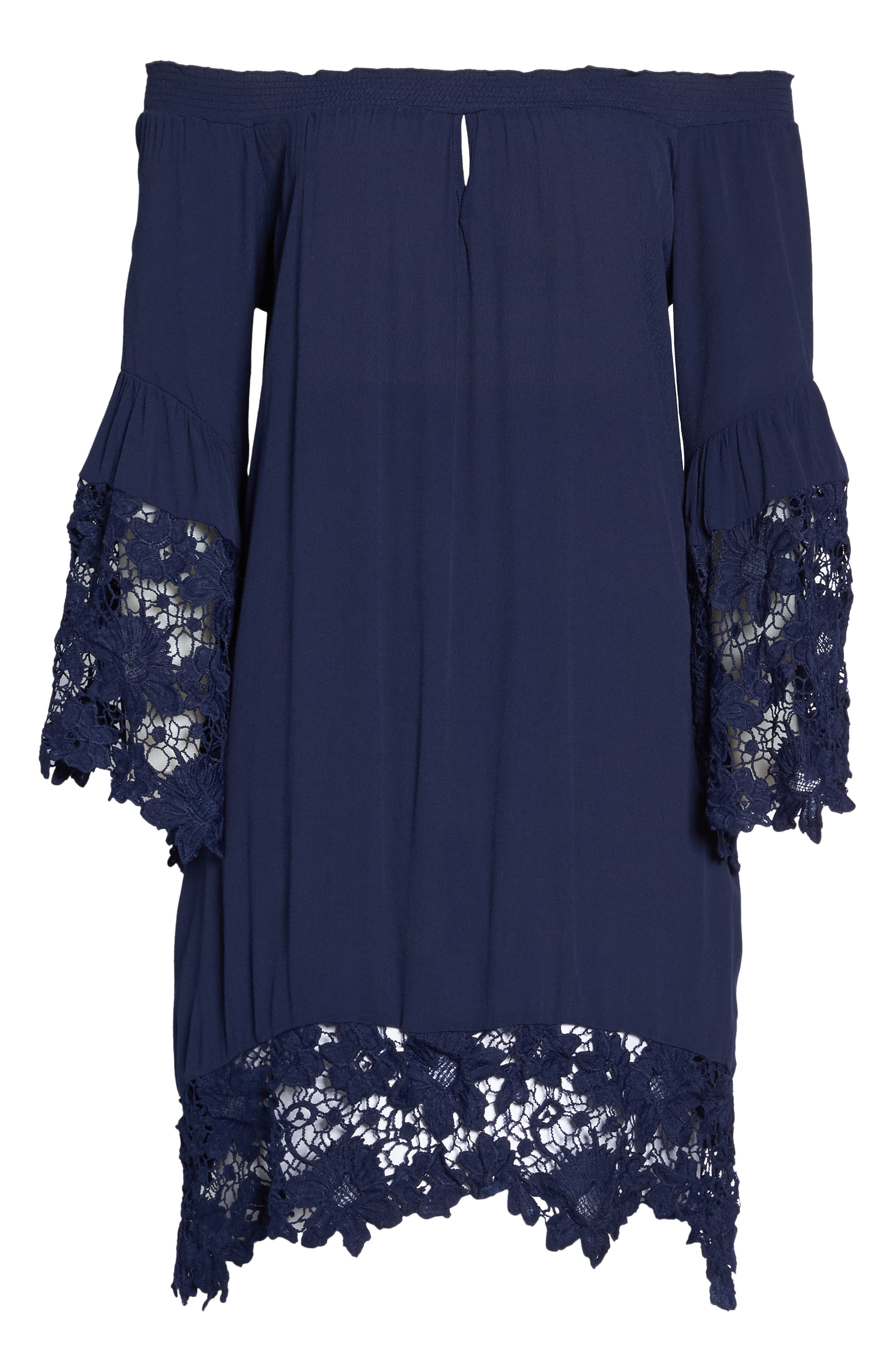 Jolie Lace Accent Cover-Up Dress,                             Alternate thumbnail 6, color,                             Navy