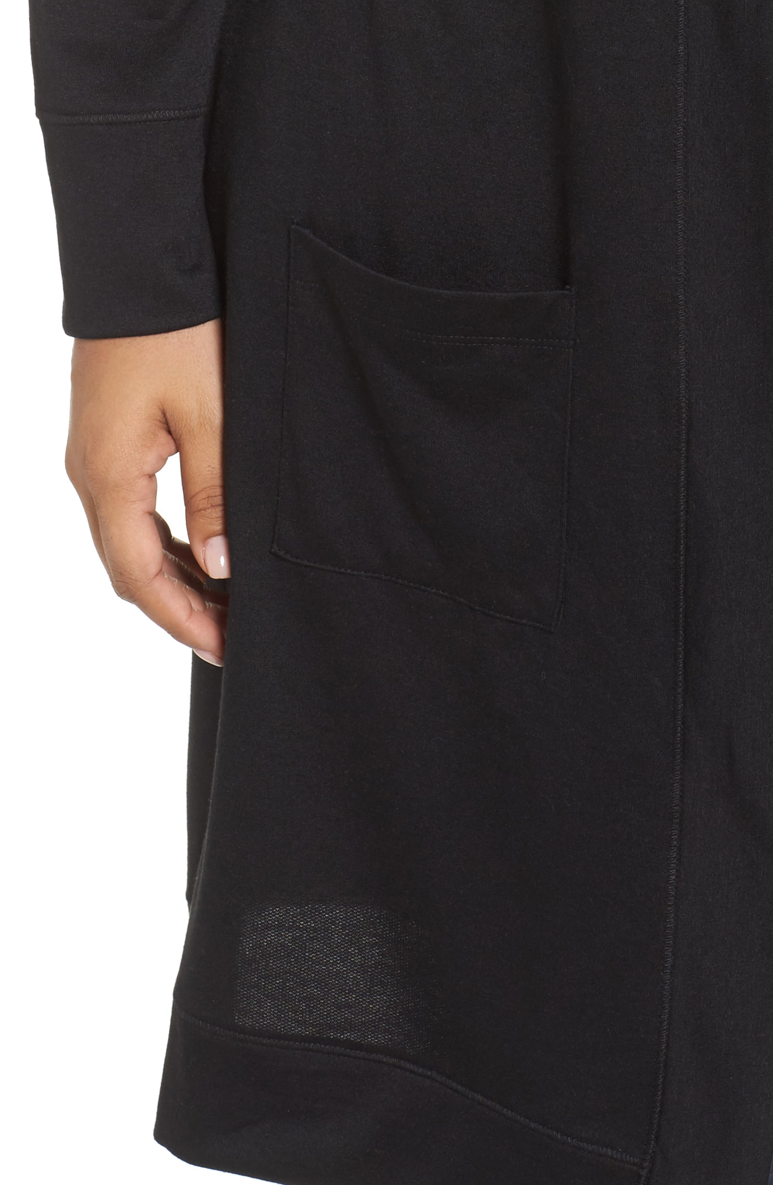 Long French Terry Cardigan,                             Alternate thumbnail 4, color,                             Black
