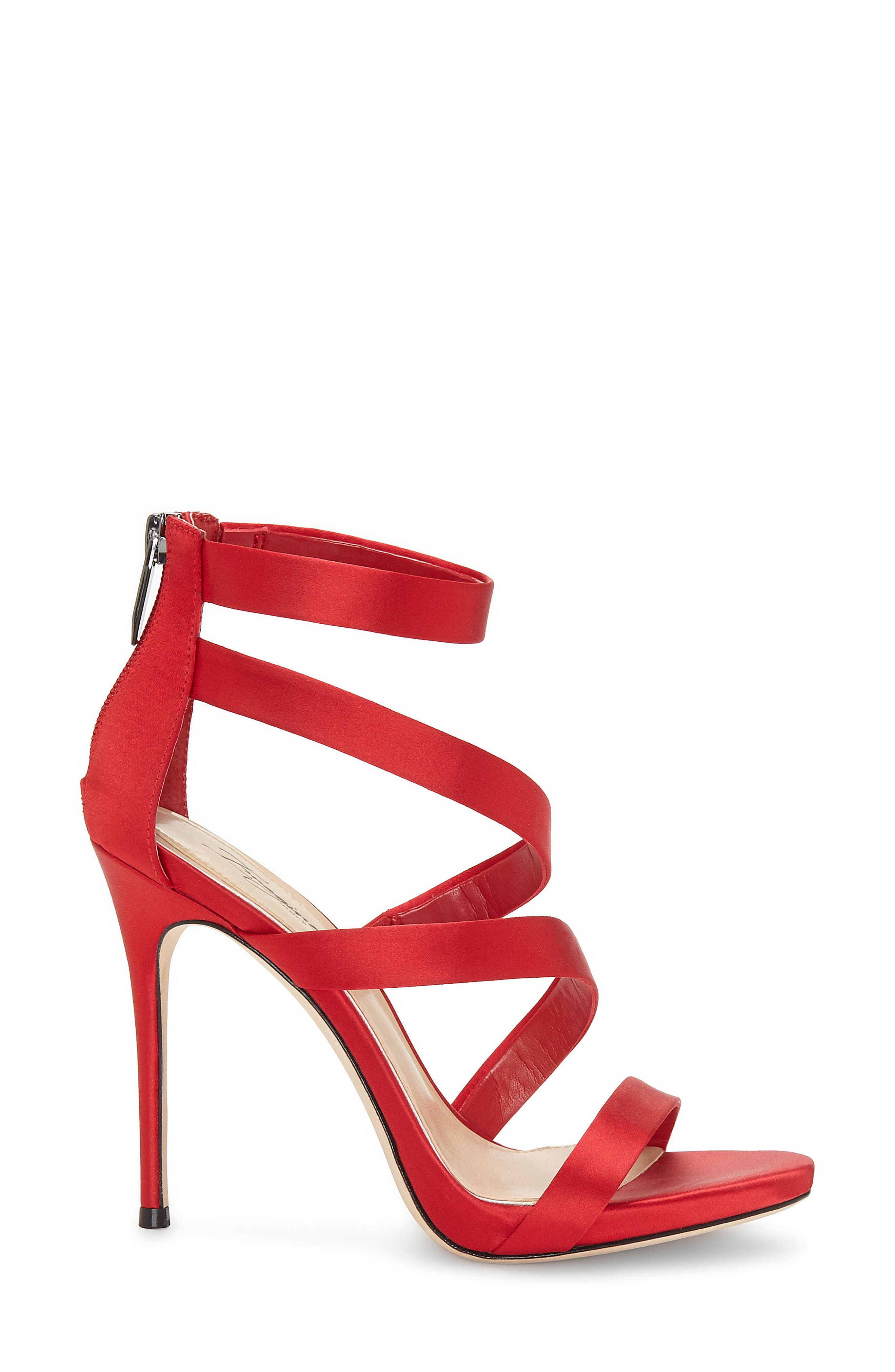 Imagine Vince Camuto Dalles Tall Strappy Sandal,                             Alternate thumbnail 3, color,                             Crimson Satin