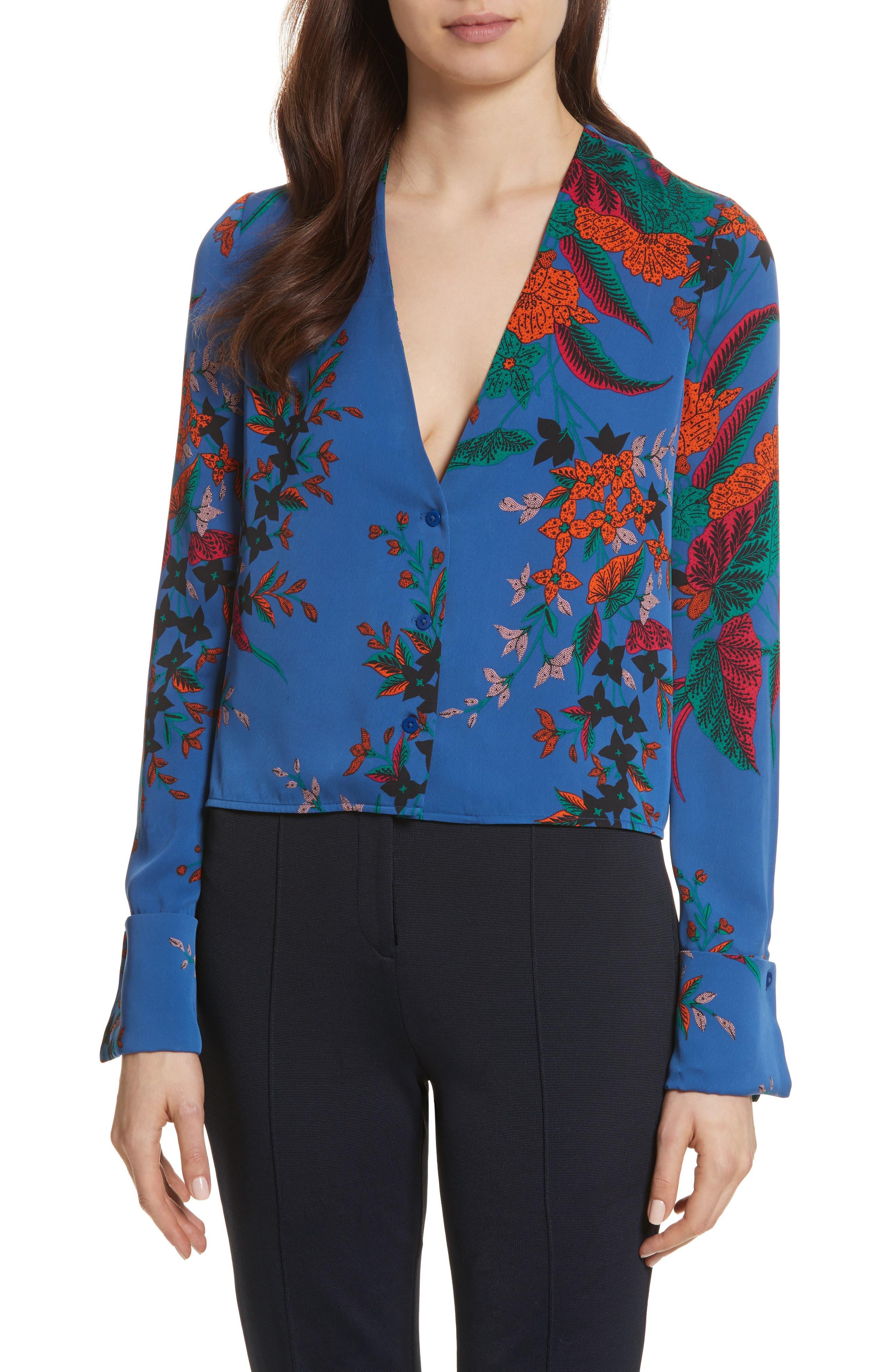 Diane von Furstenberg Cuffed Sleeve Floral Silk Top