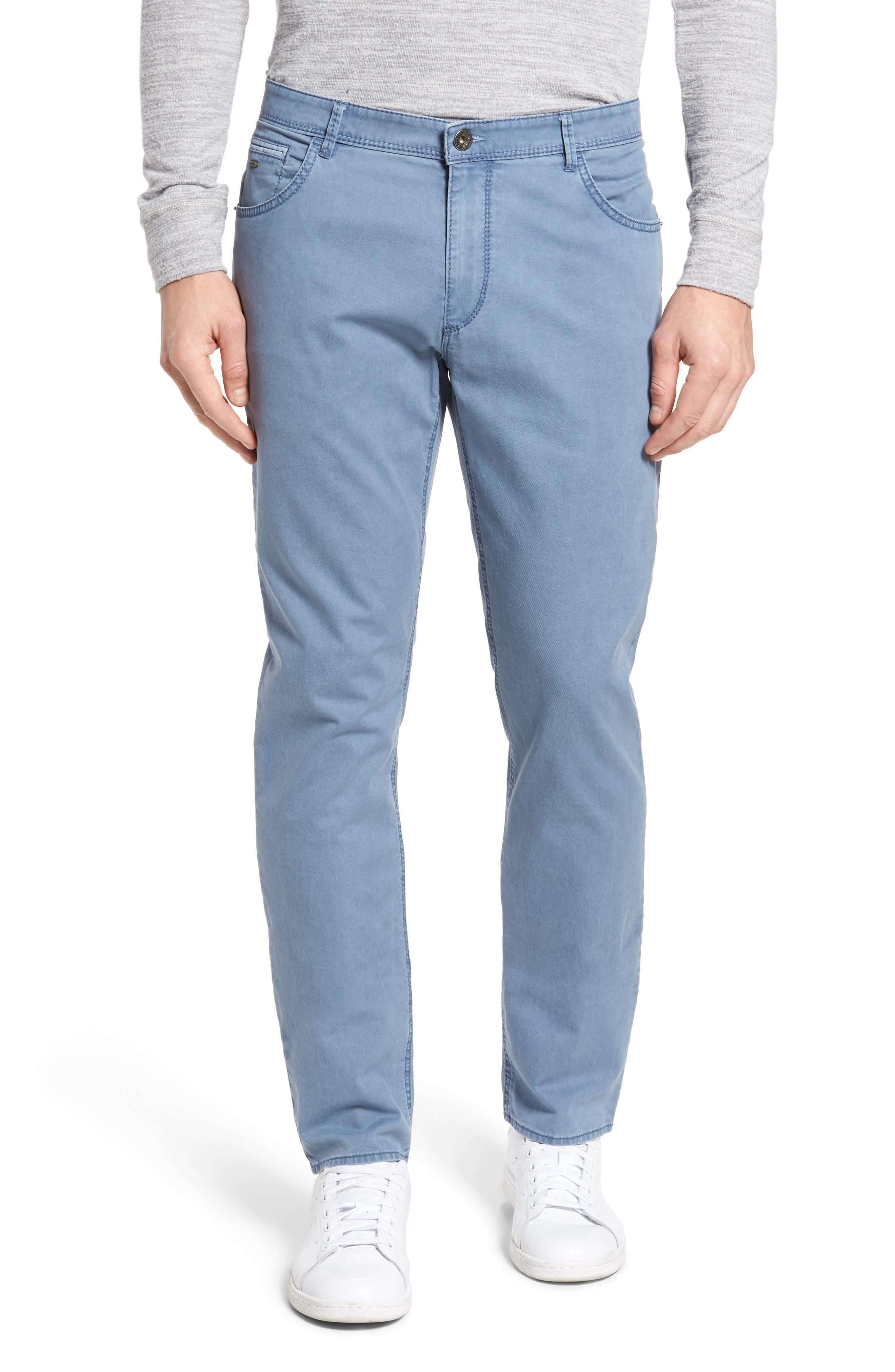 Chuck Flat Front Stretch Cotton Pants,                         Main,                         color, Sky Blue