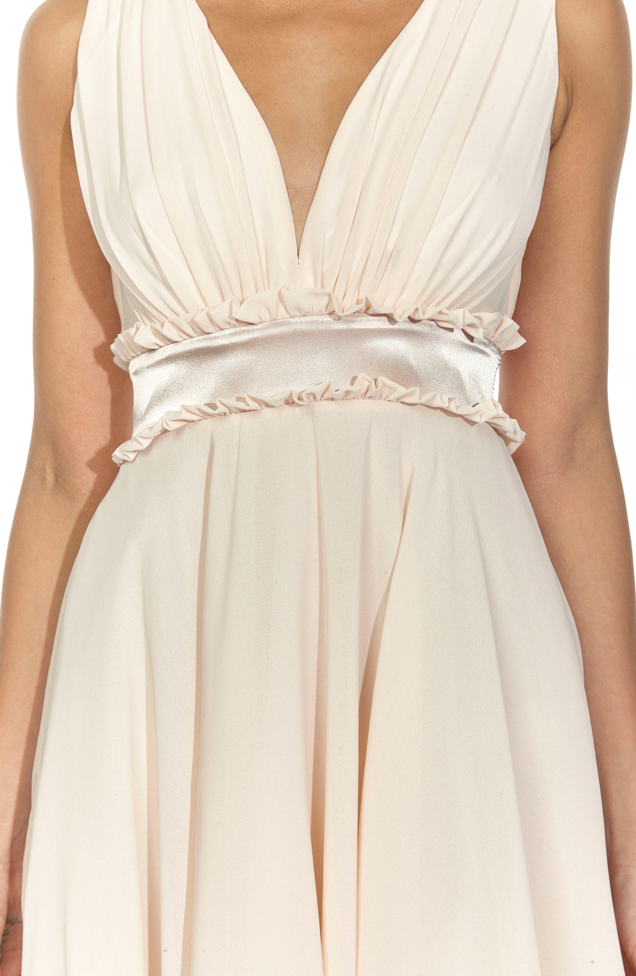Joany Ruffle Waist Fit & Flare Dress,                             Alternate thumbnail 4, color,                             Nude