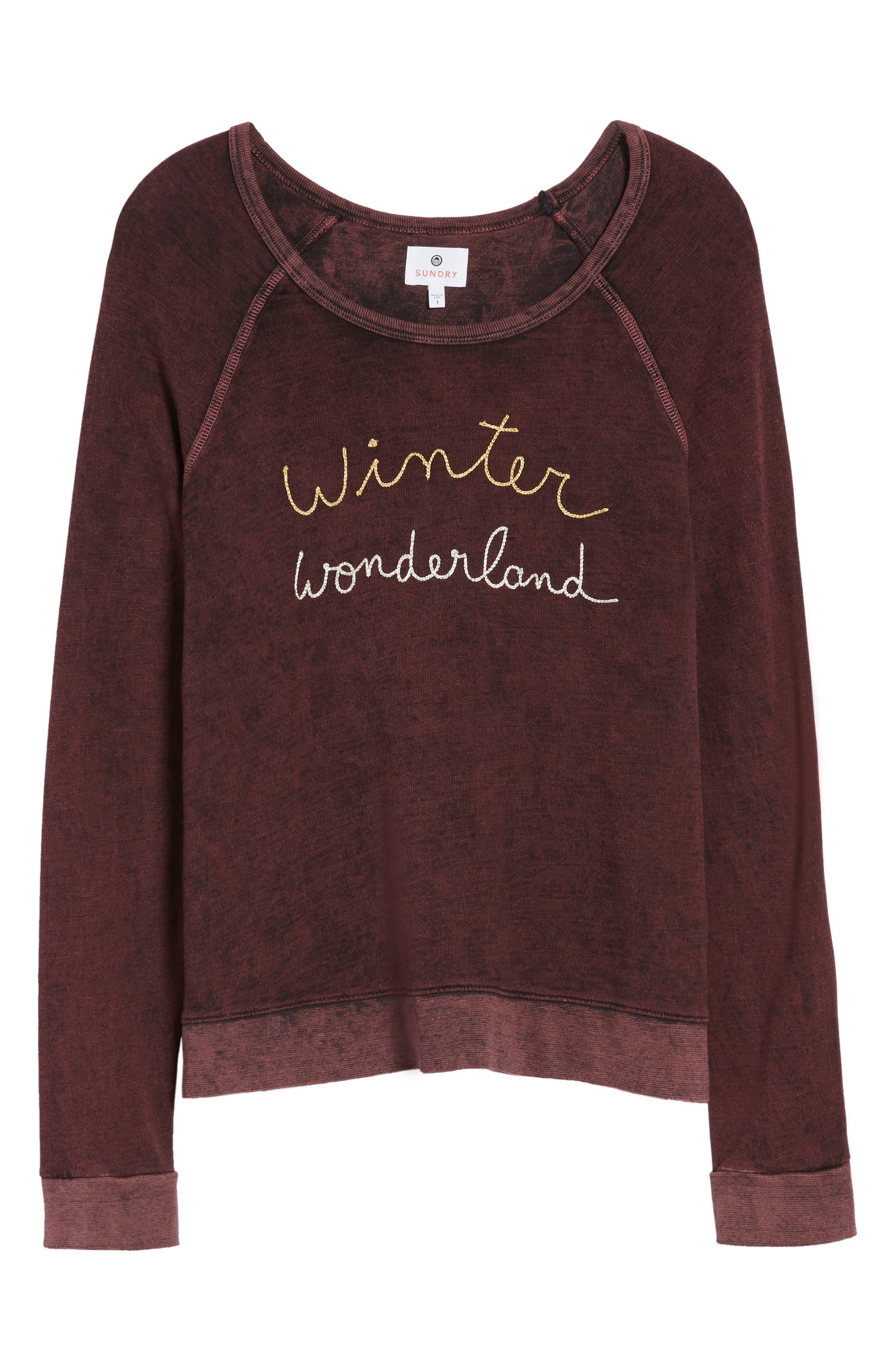 Active Winter Wonderland Sweatshirt,                             Alternate thumbnail 6, color,                             Burgundy Acid Wash