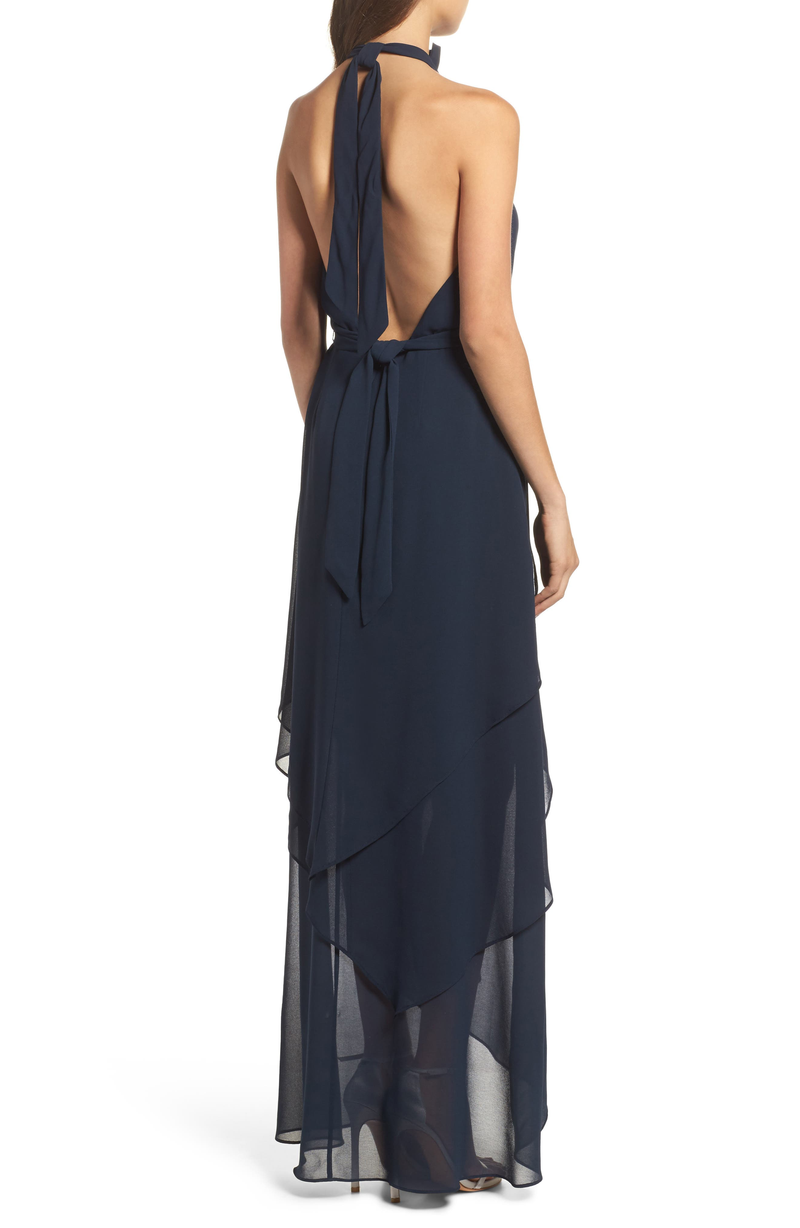 Allude Tiered Halter Maxi Dress,                             Alternate thumbnail 3, color,                             Navy