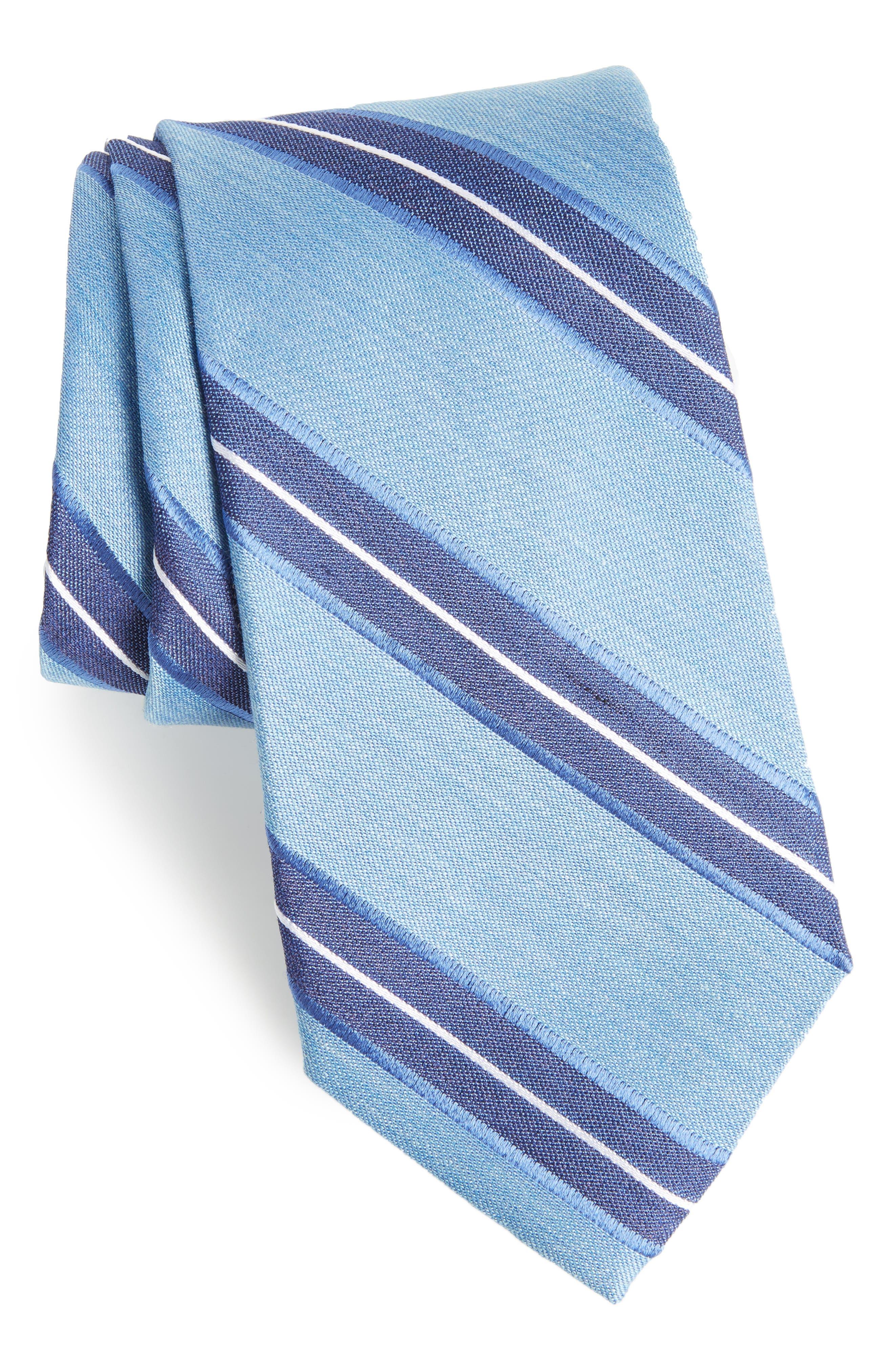 Peralba Stripe Silk Blend Tie,                             Main thumbnail 1, color,                             Light Blue