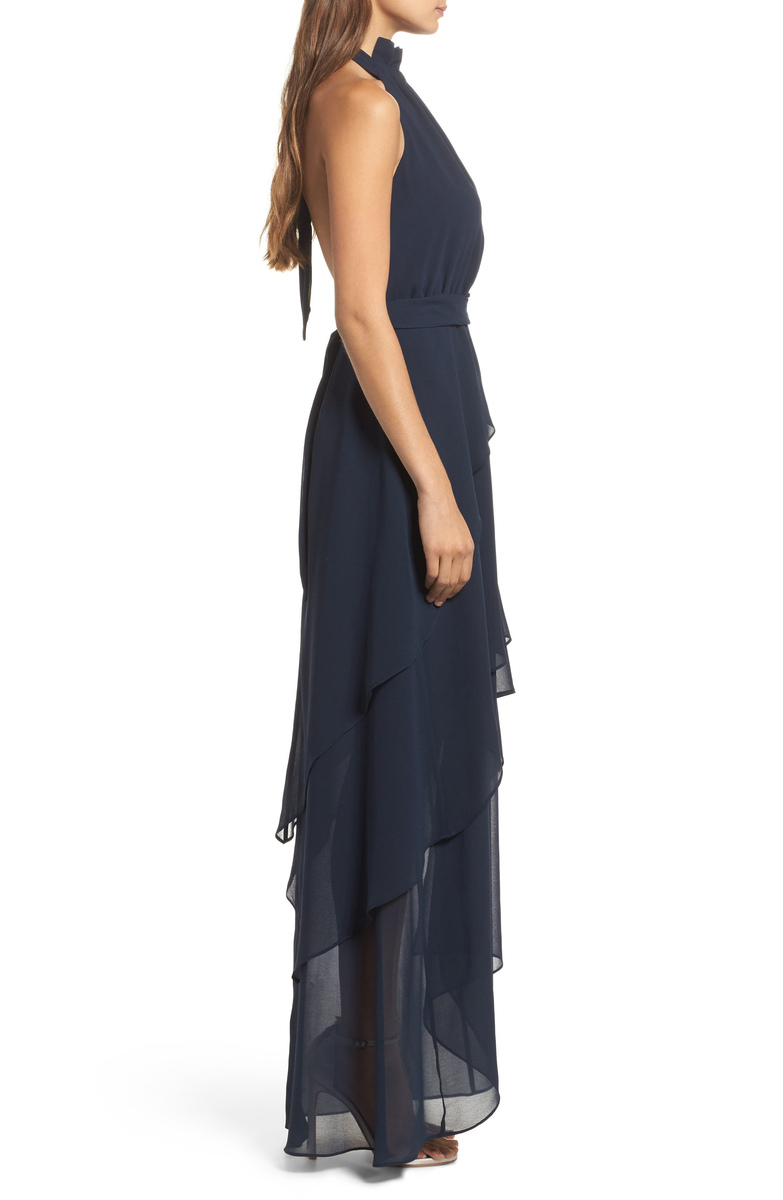 Allude Tiered Halter Maxi Dress,                             Alternate thumbnail 4, color,                             Navy