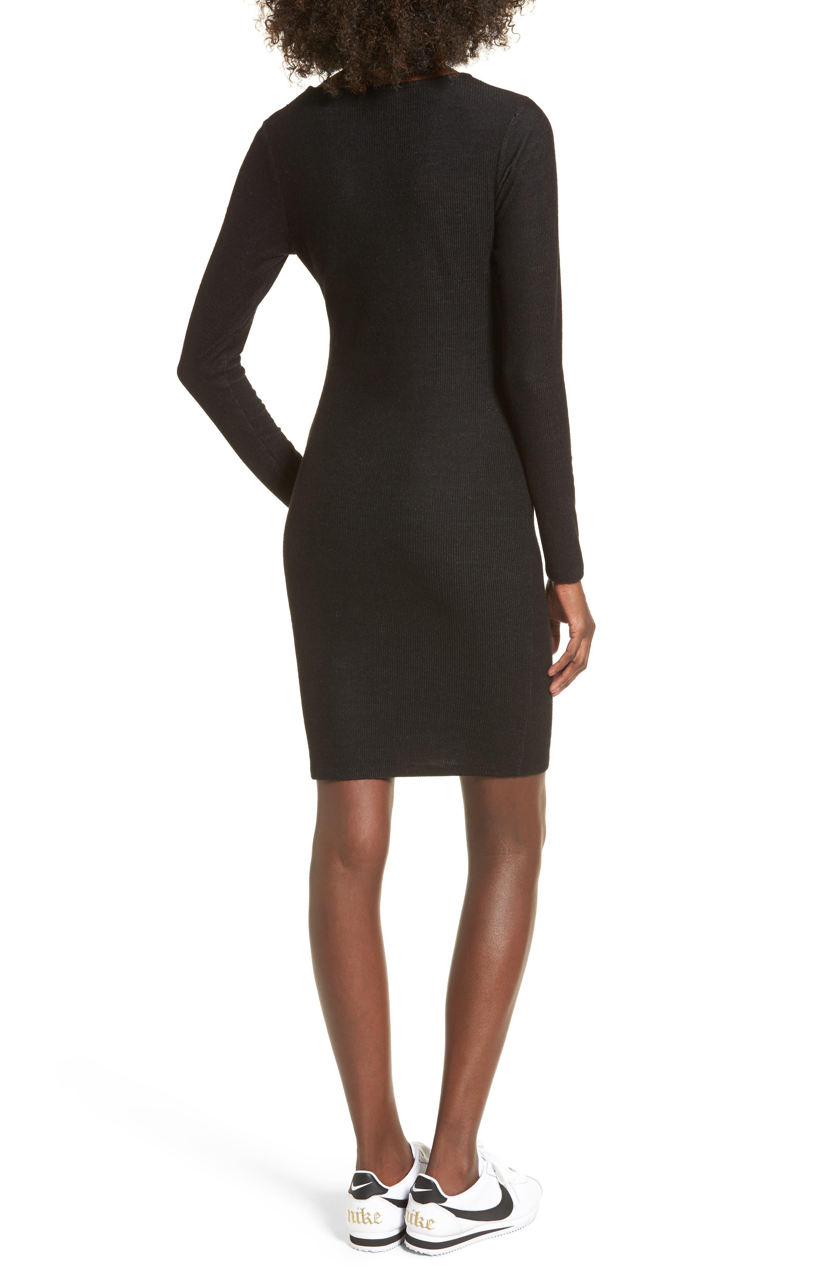 Ribbed Body-Con Dress,                             Alternate thumbnail 2, color,                             Black