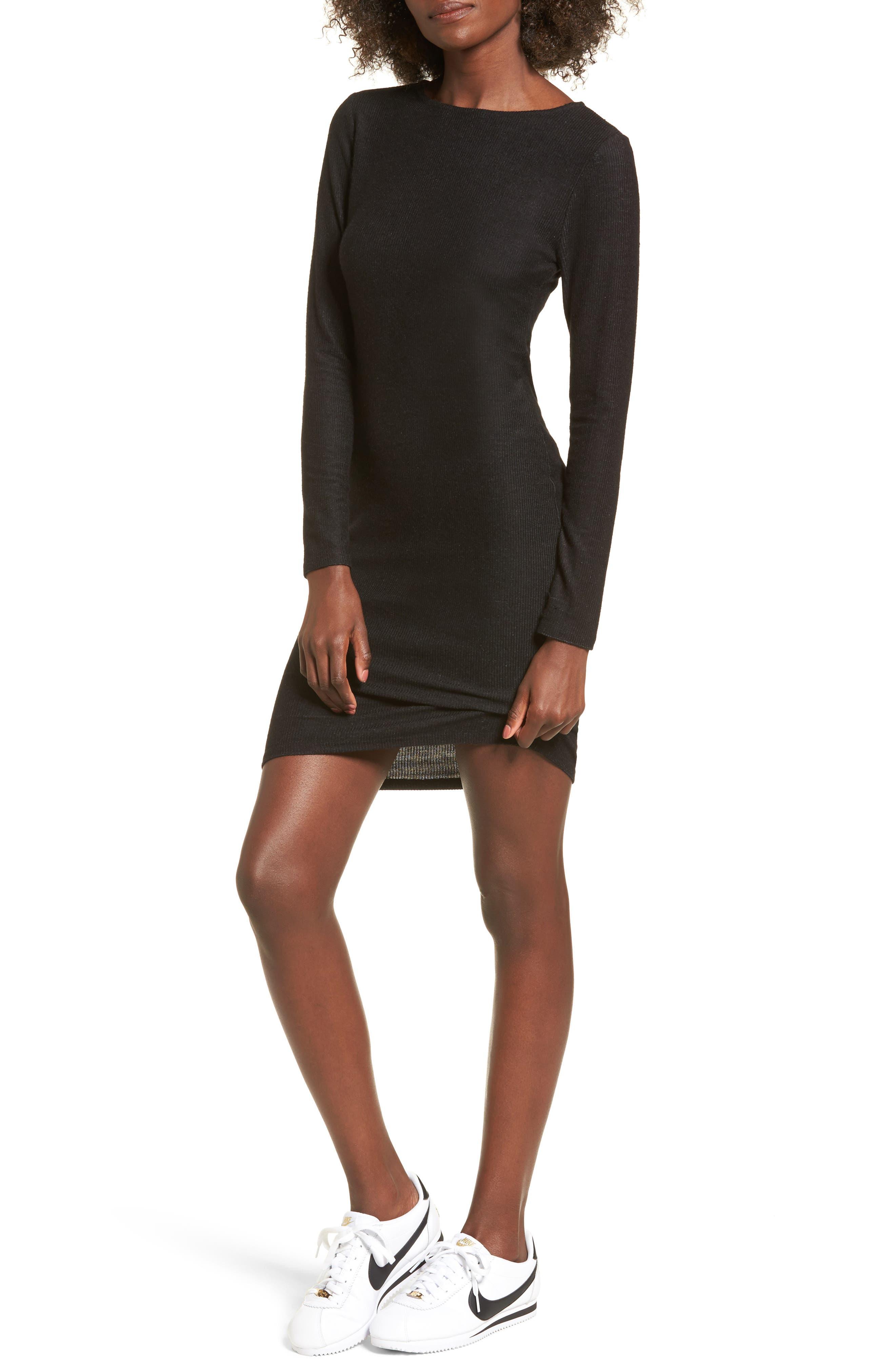 Ribbed Body-Con Dress,                         Main,                         color, Black