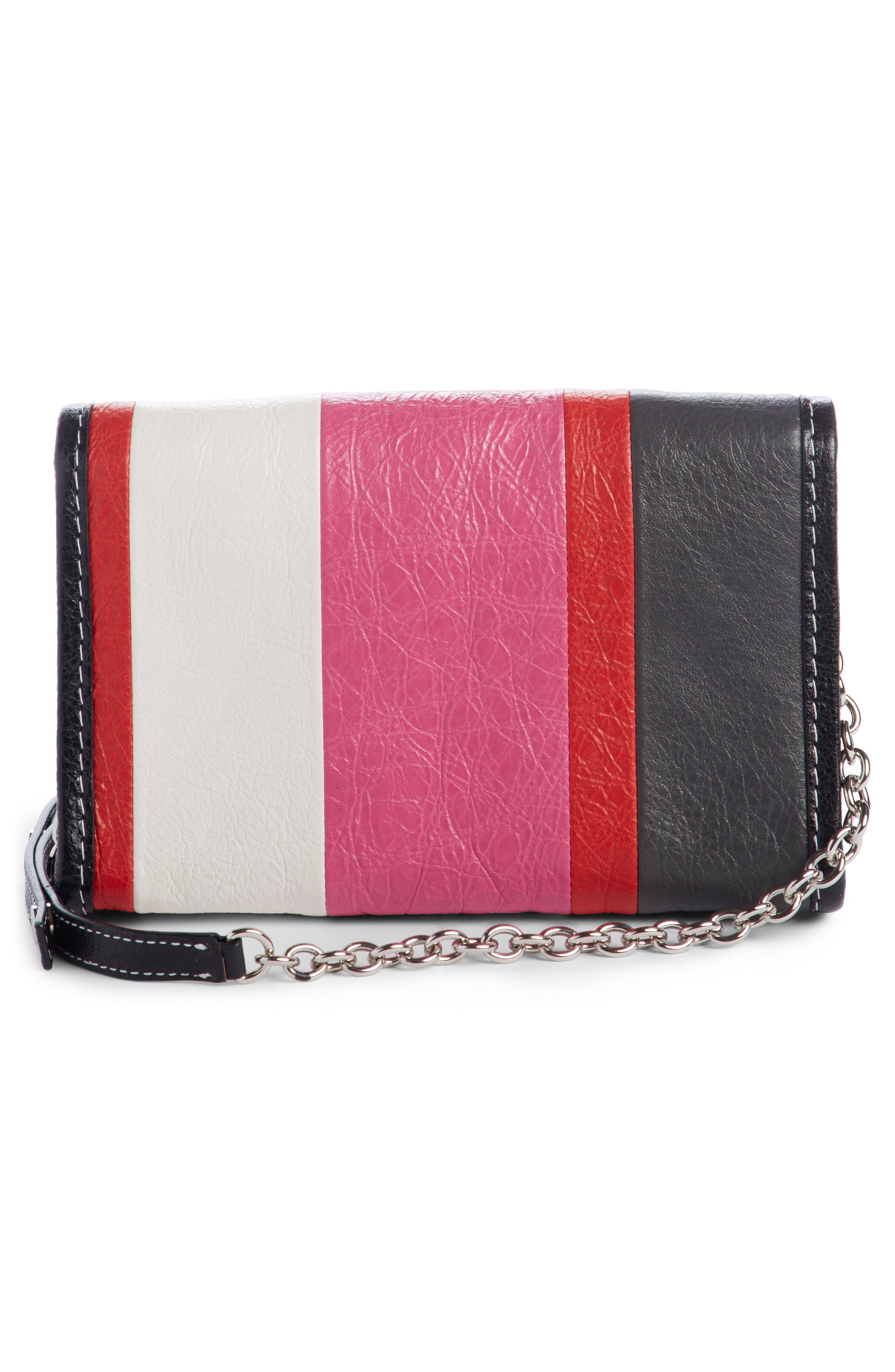 Bazar Leather Wallet on a Chain,                             Alternate thumbnail 2, color,                             Rose Gris Fssil Blu Noir Roug
