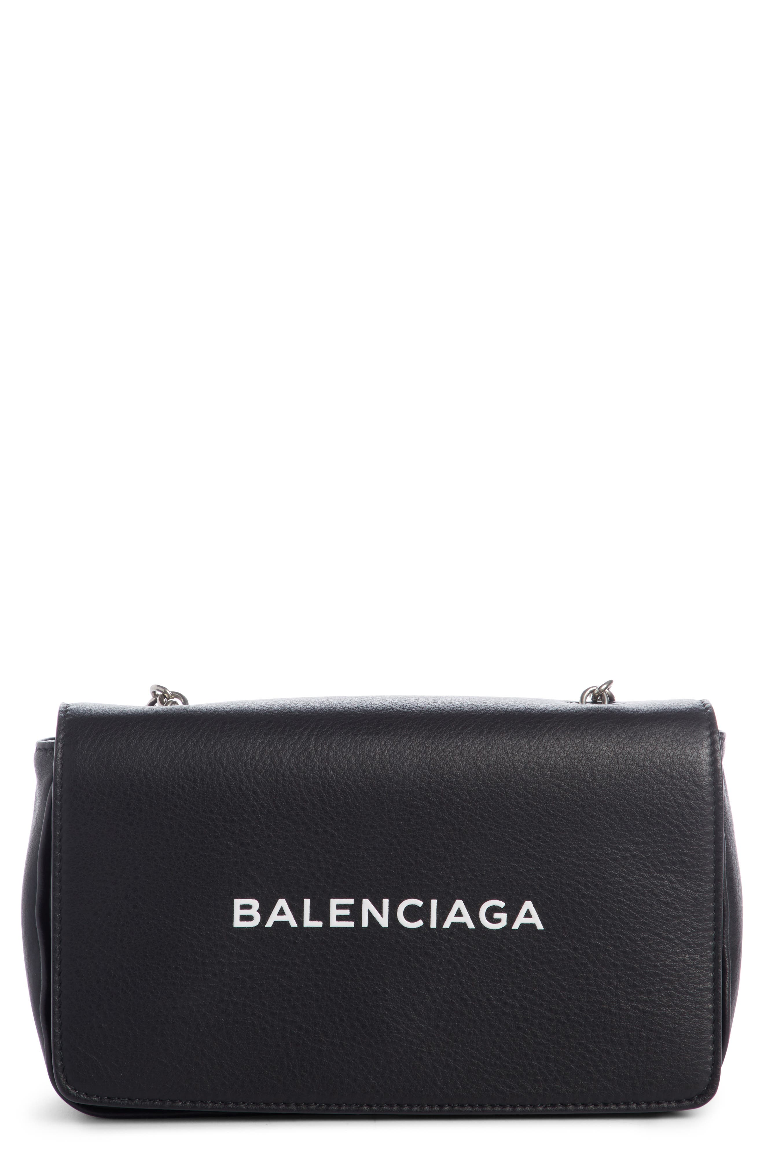 Everyday Calfskin Wallet on a Chain,                             Main thumbnail 1, color,                             Noir/ Blanc