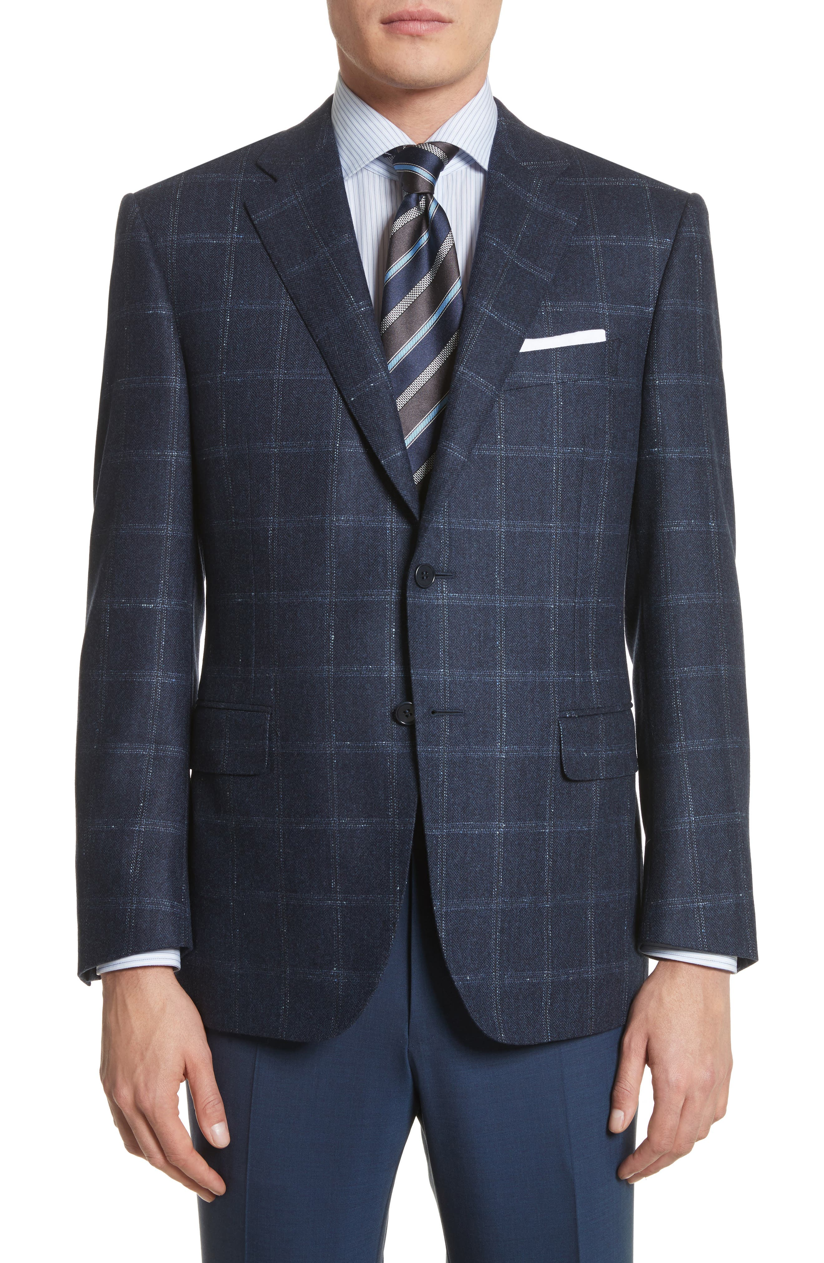 Classic Fit Windowpane Wool & Cashmere Sport Coat,                         Main,                         color, Navy