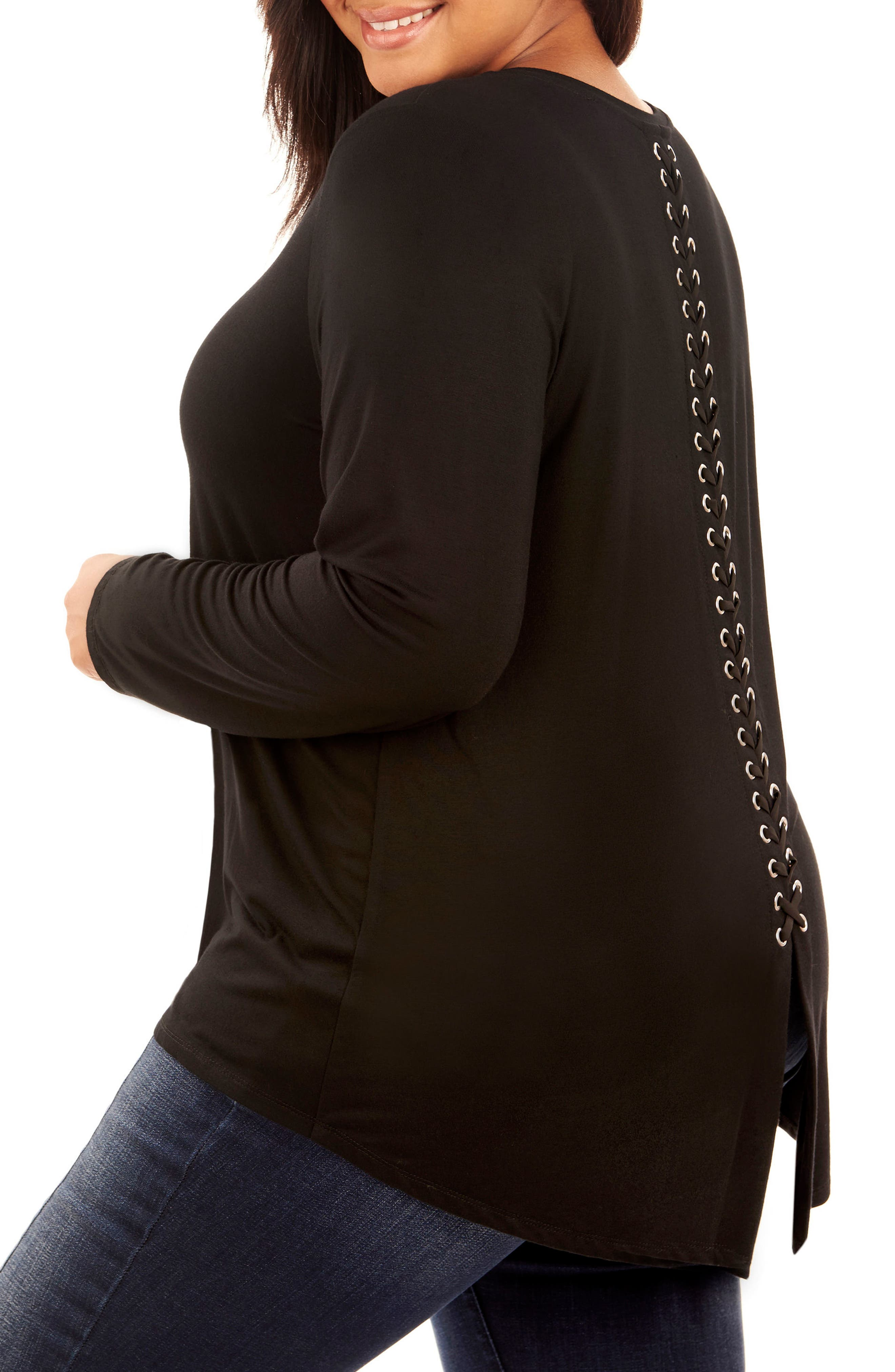 Lace-Up Back Top,                             Alternate thumbnail 3, color,                             Black Beauty