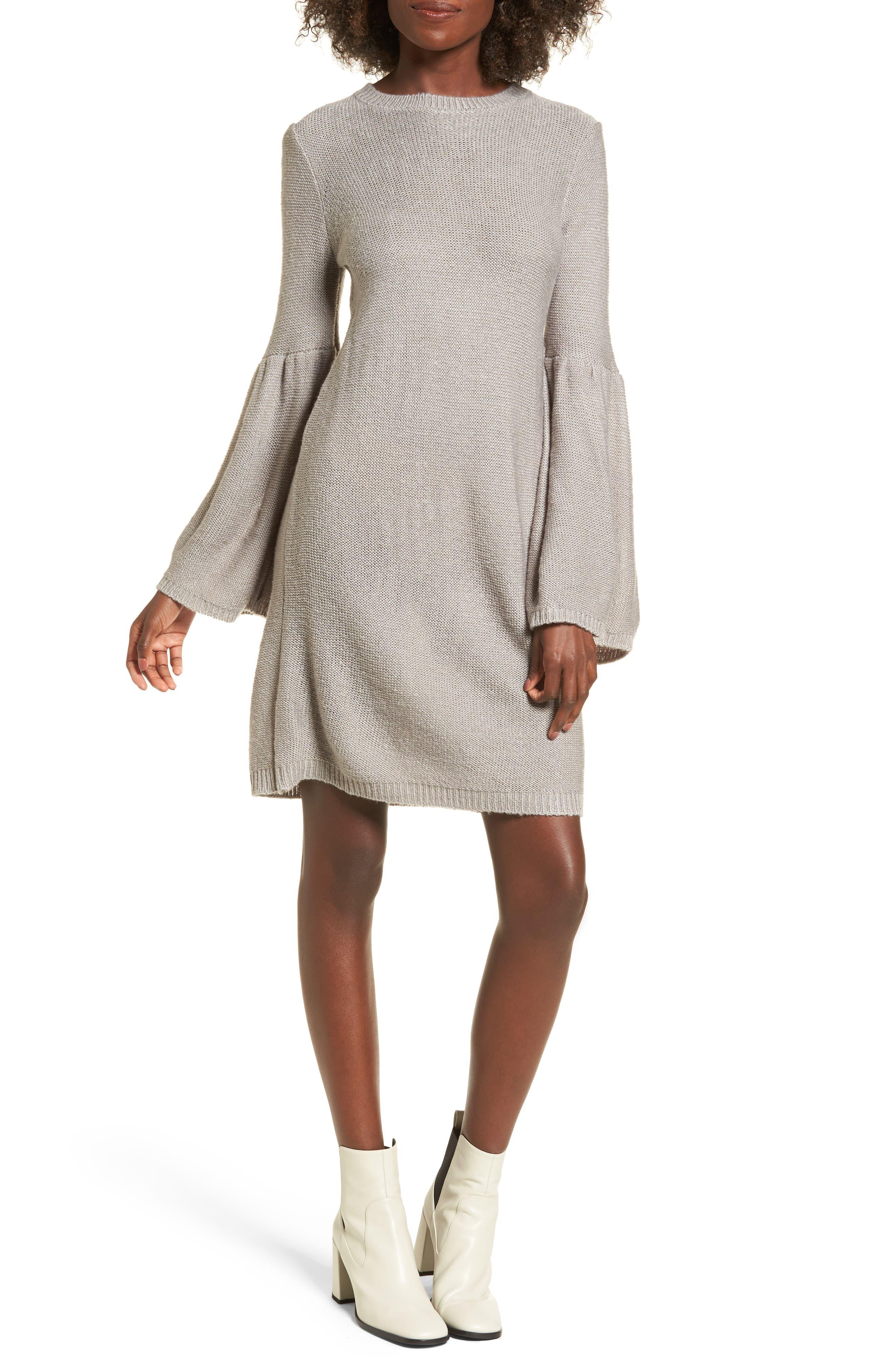 Bell Sleeve Sweater Dress,                             Main thumbnail 1, color,                             Light Heather Grey