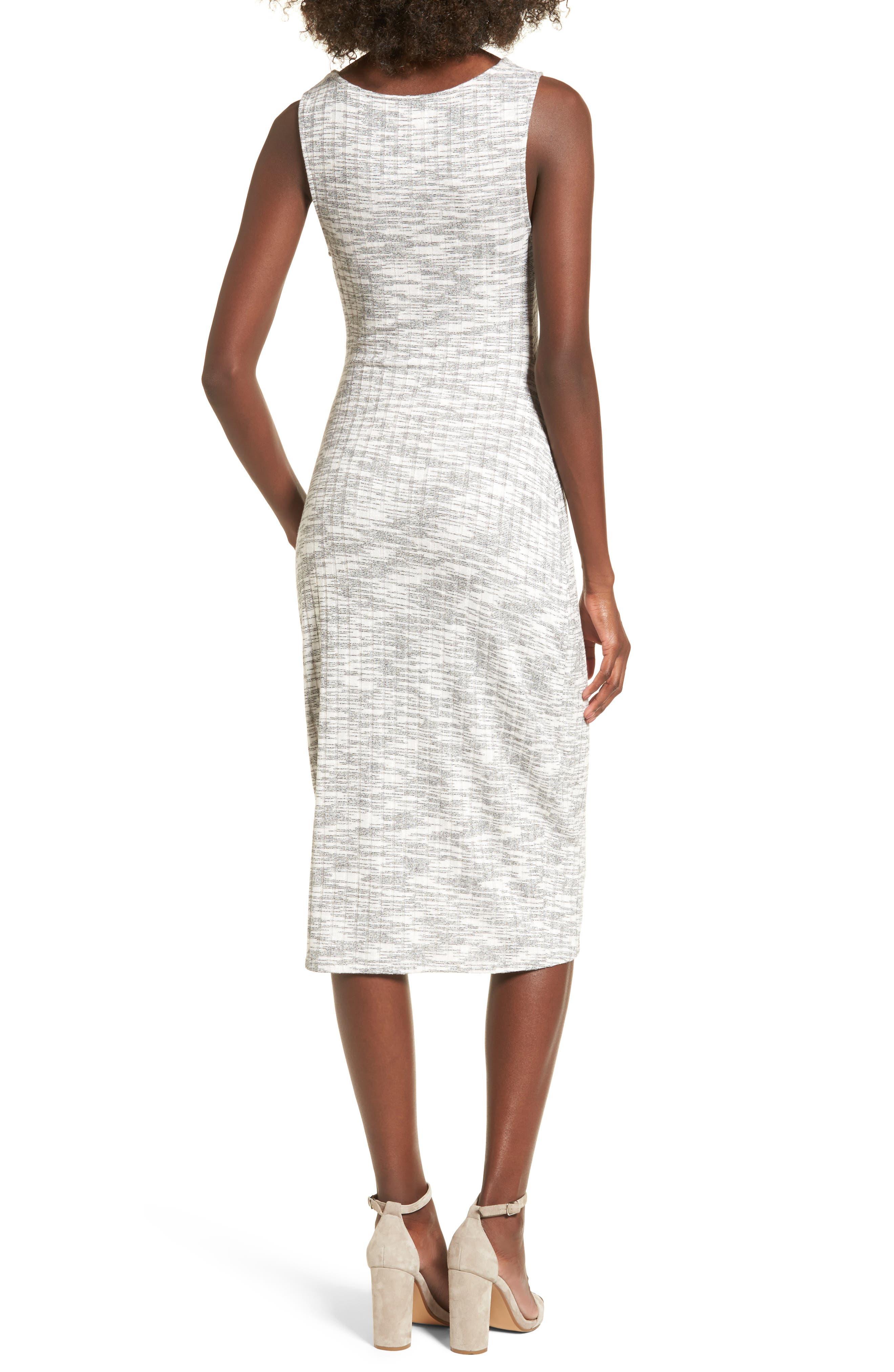 Gathered Waist Midi Dress,                             Alternate thumbnail 2, color,                             Grey Medium Heather