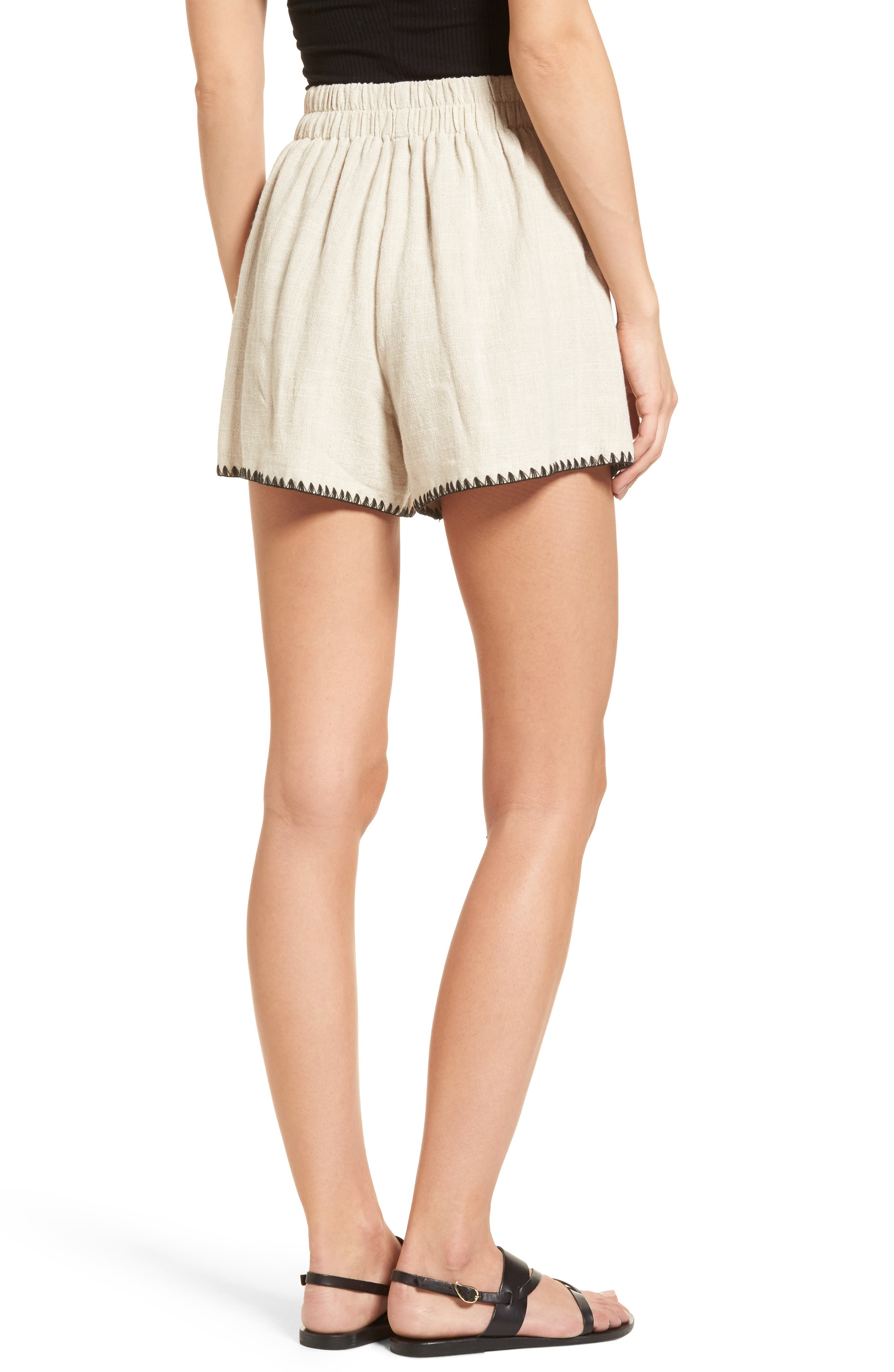 Alternate Image 3  - MOON RIVER Pleat Blanket Stitch Shorts