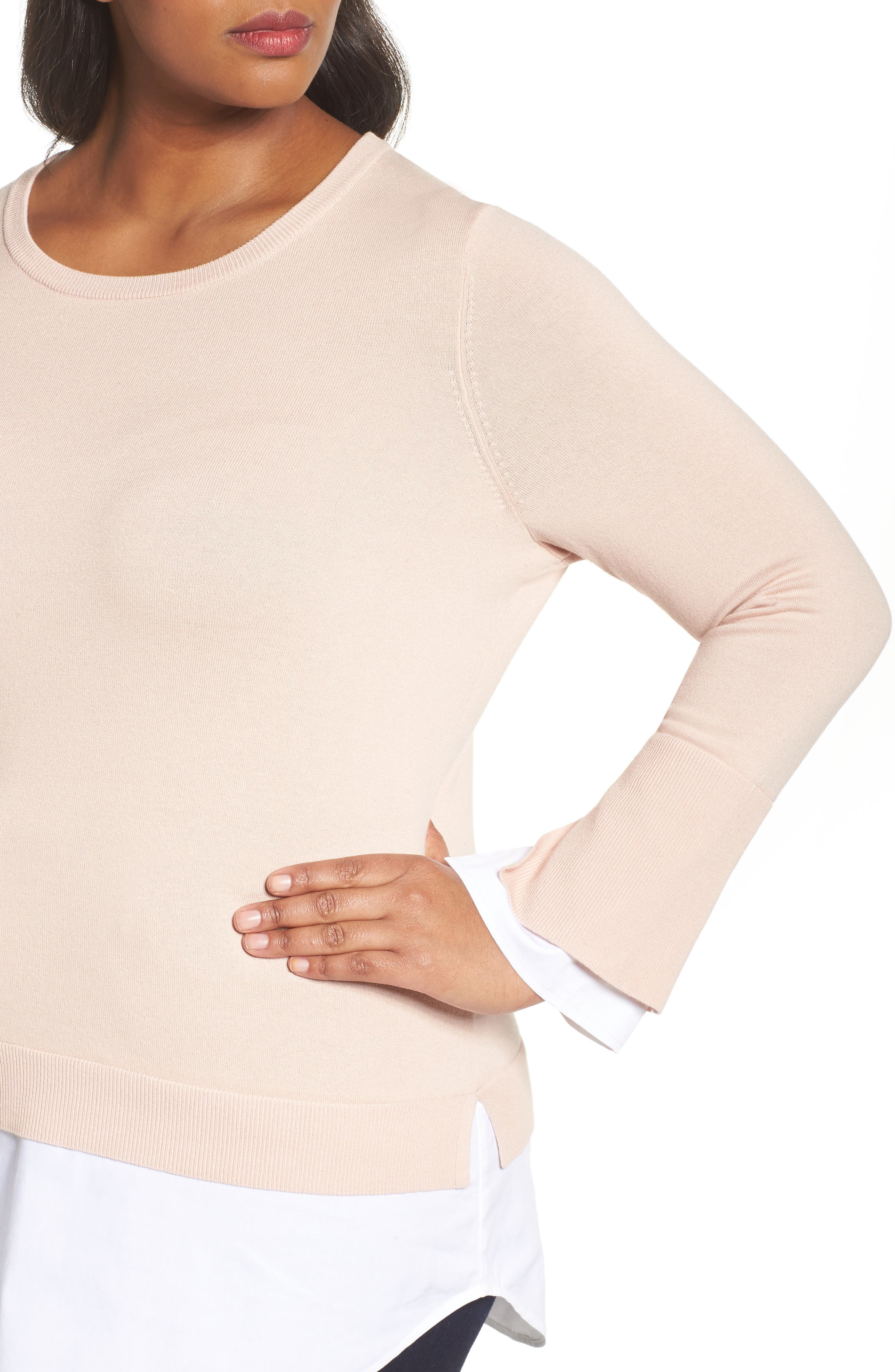 Layered Look Sweater,                             Alternate thumbnail 4, color,                             Rose Buff