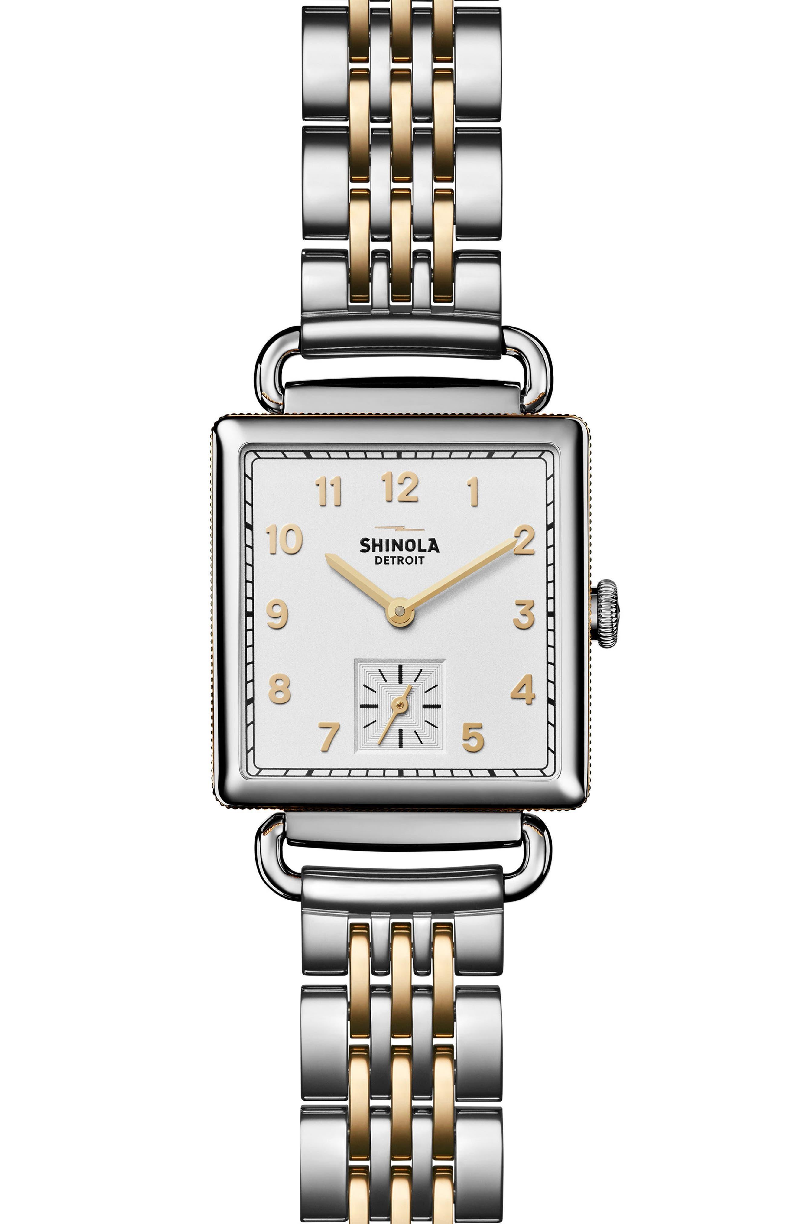 Cass Bracelet Watch, 27mm x 27mm,                         Main,                         color, Silver/ White/ Gold