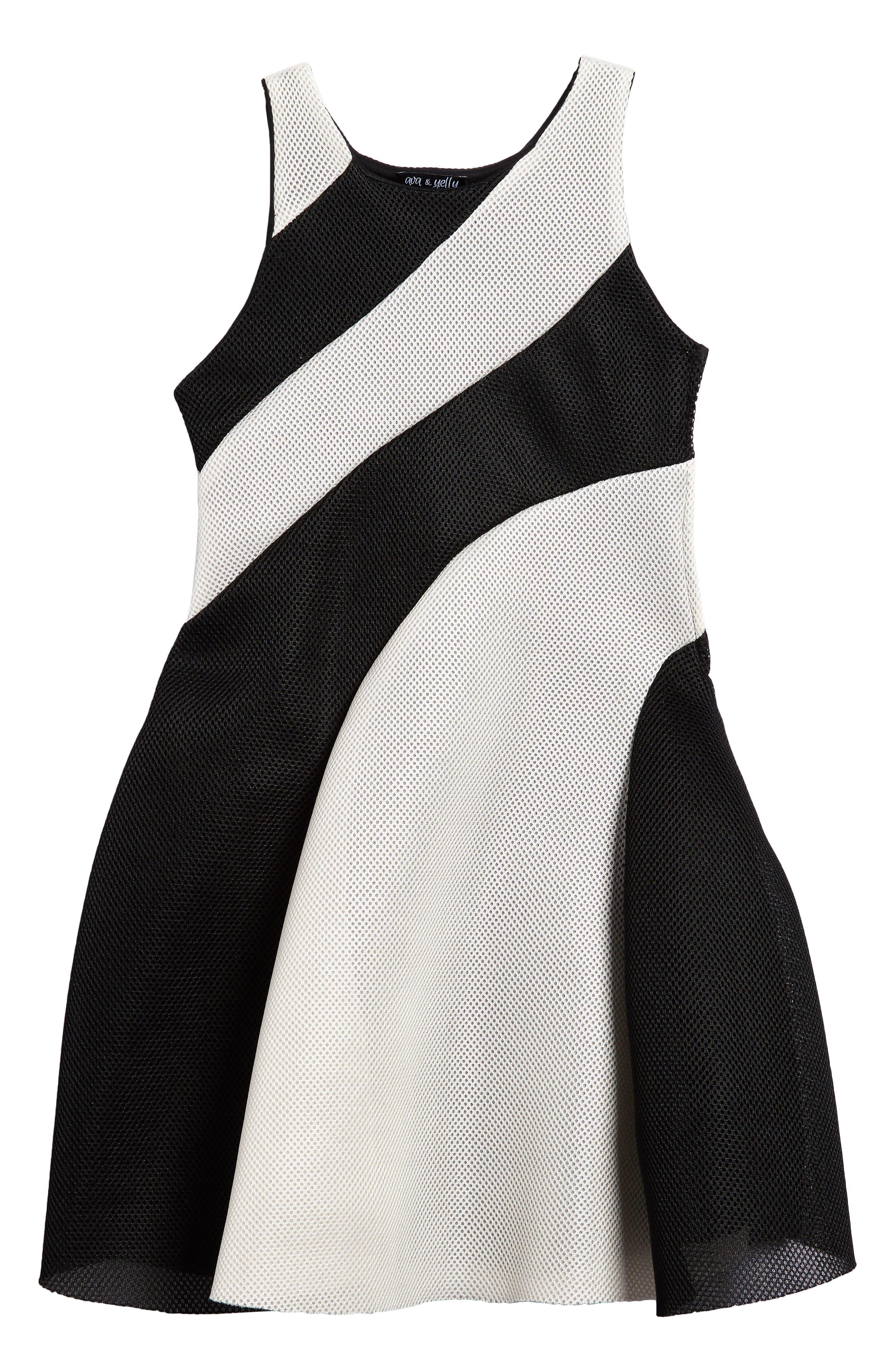 Alternate Image 1 Selected - Ava & Yelly Techno Mesh Skater Dress (Big Girls)