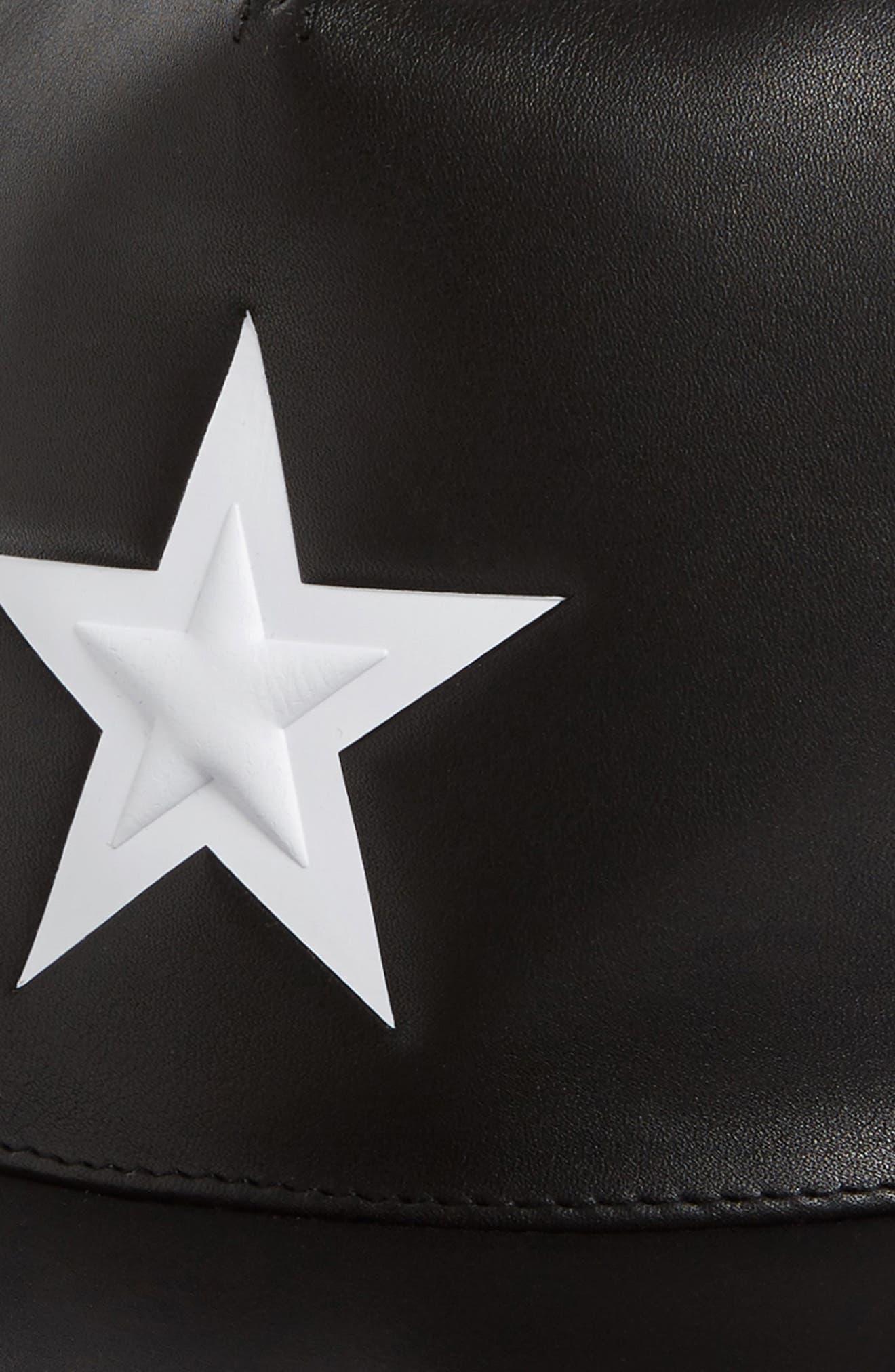 Star Leather Trucker Cap,                             Alternate thumbnail 3, color,                             Black/White