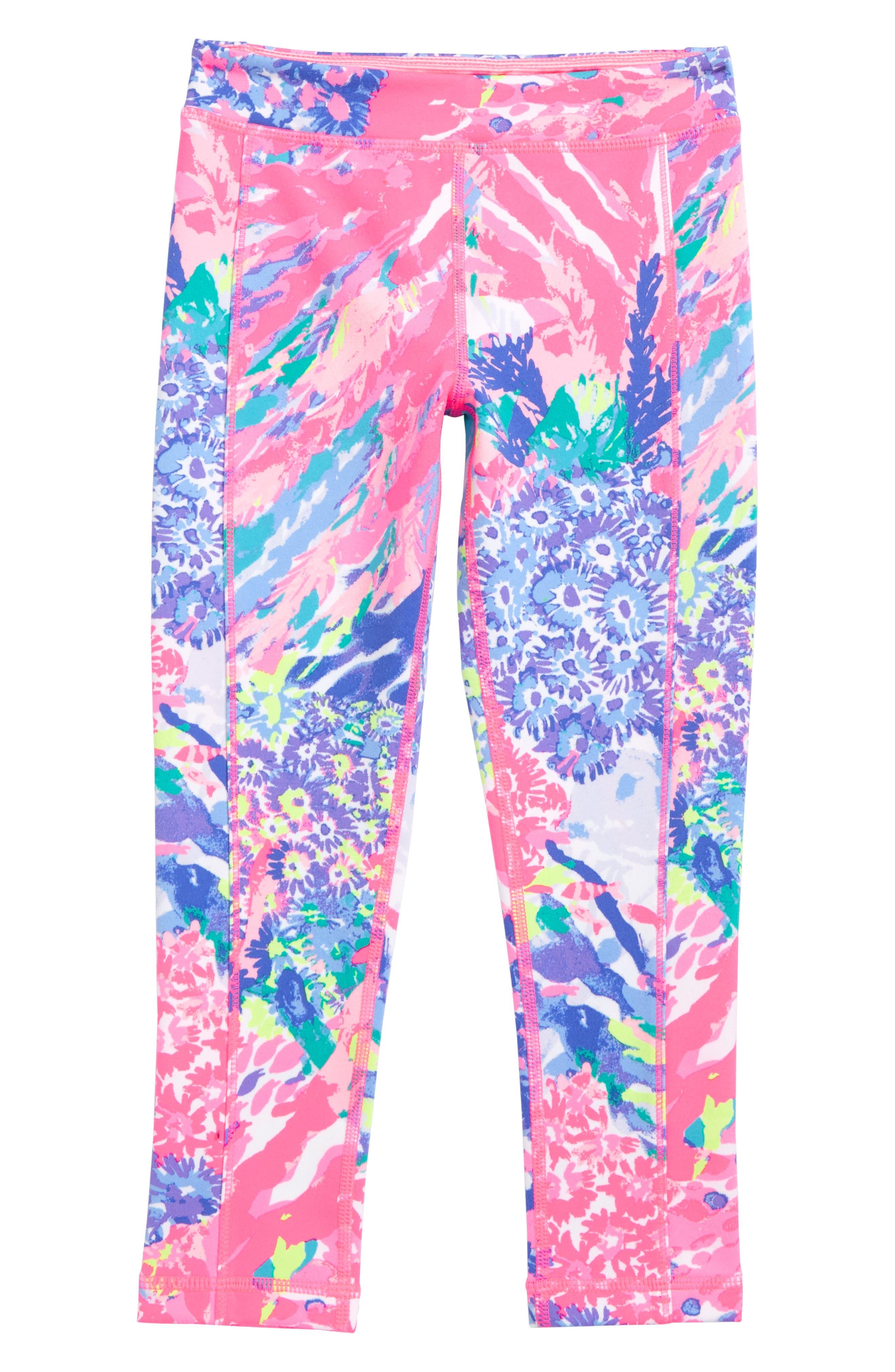 UPF 50+ Print Leggings,                         Main,                         color, Rainbow Soleil