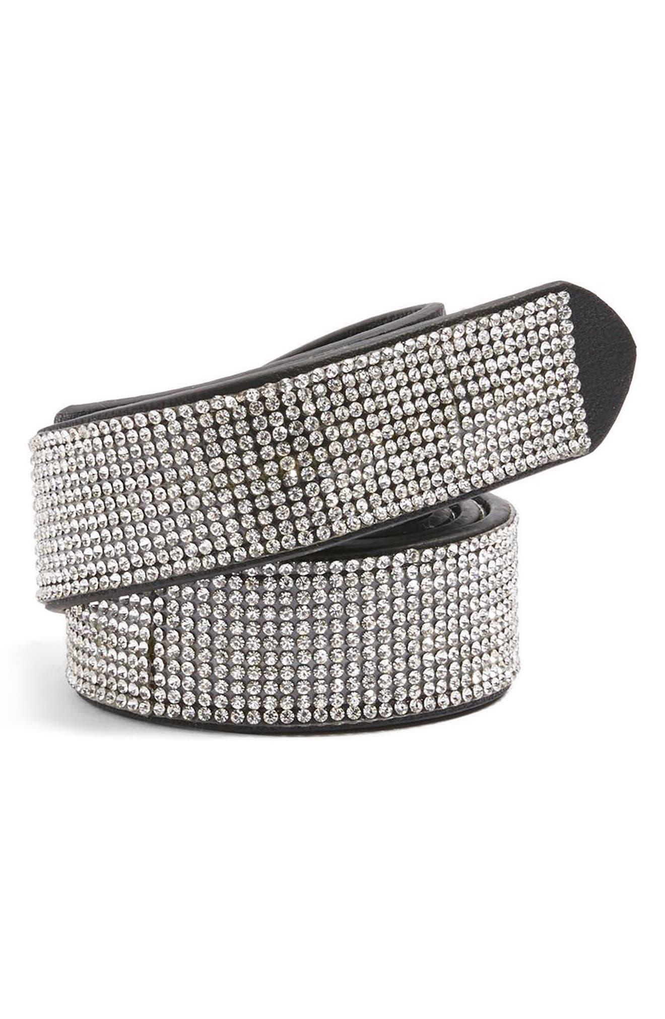 Diamante Belt,                             Main thumbnail 1, color,                             Silver
