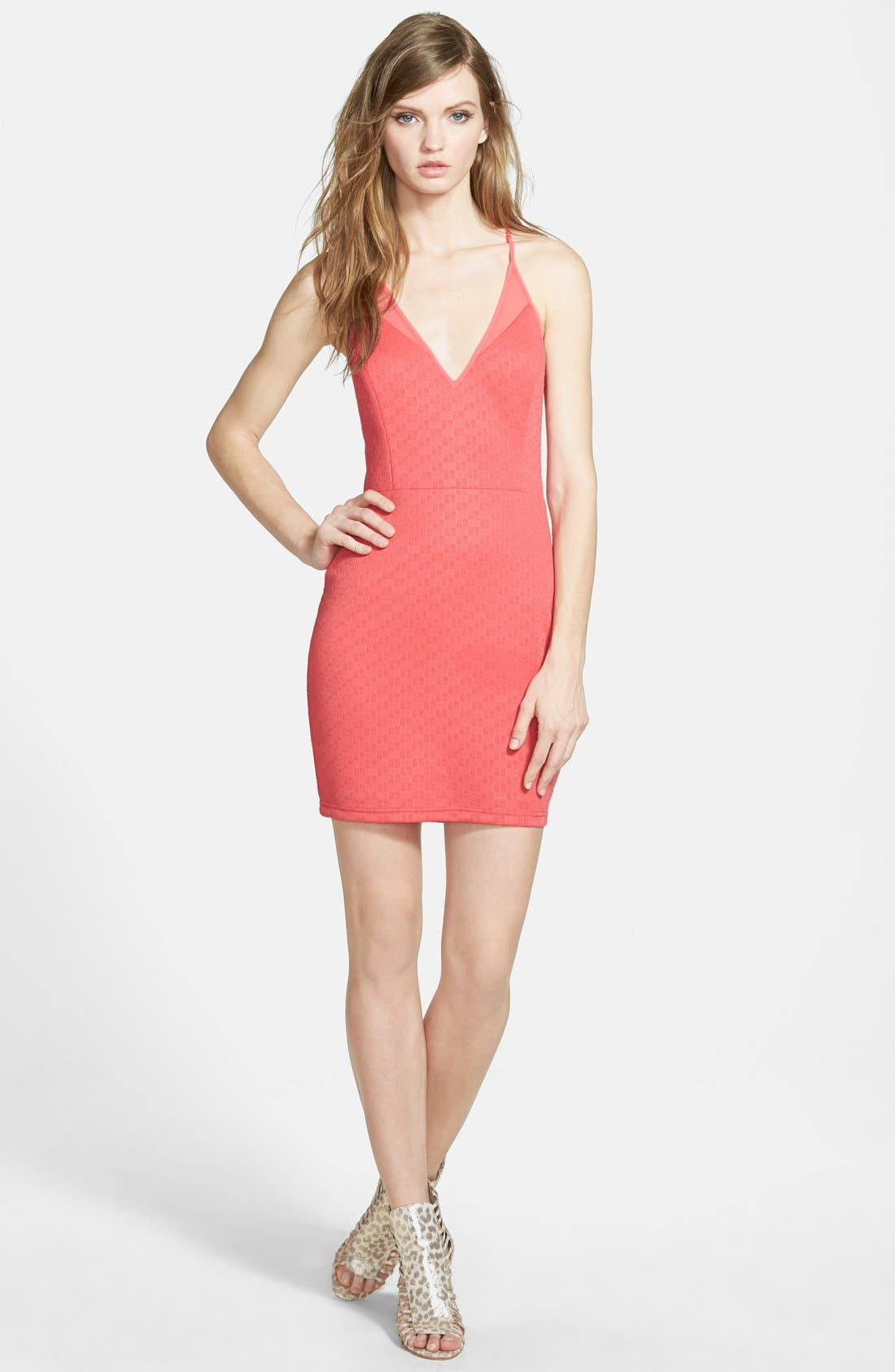 Main Image - ASTR Mesh Inset Body-Con Dress