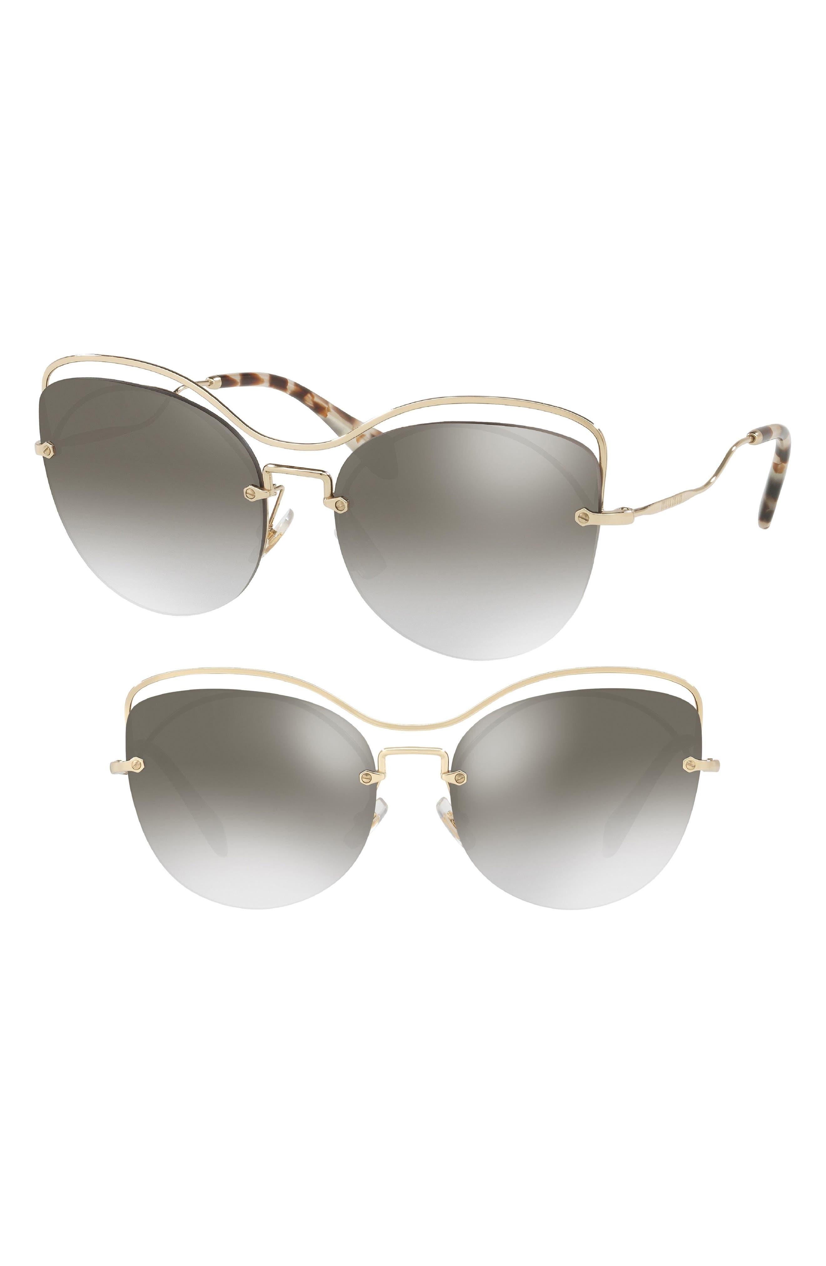 Miu Miu 60mm Mirrored Cat Eye Sunglasses