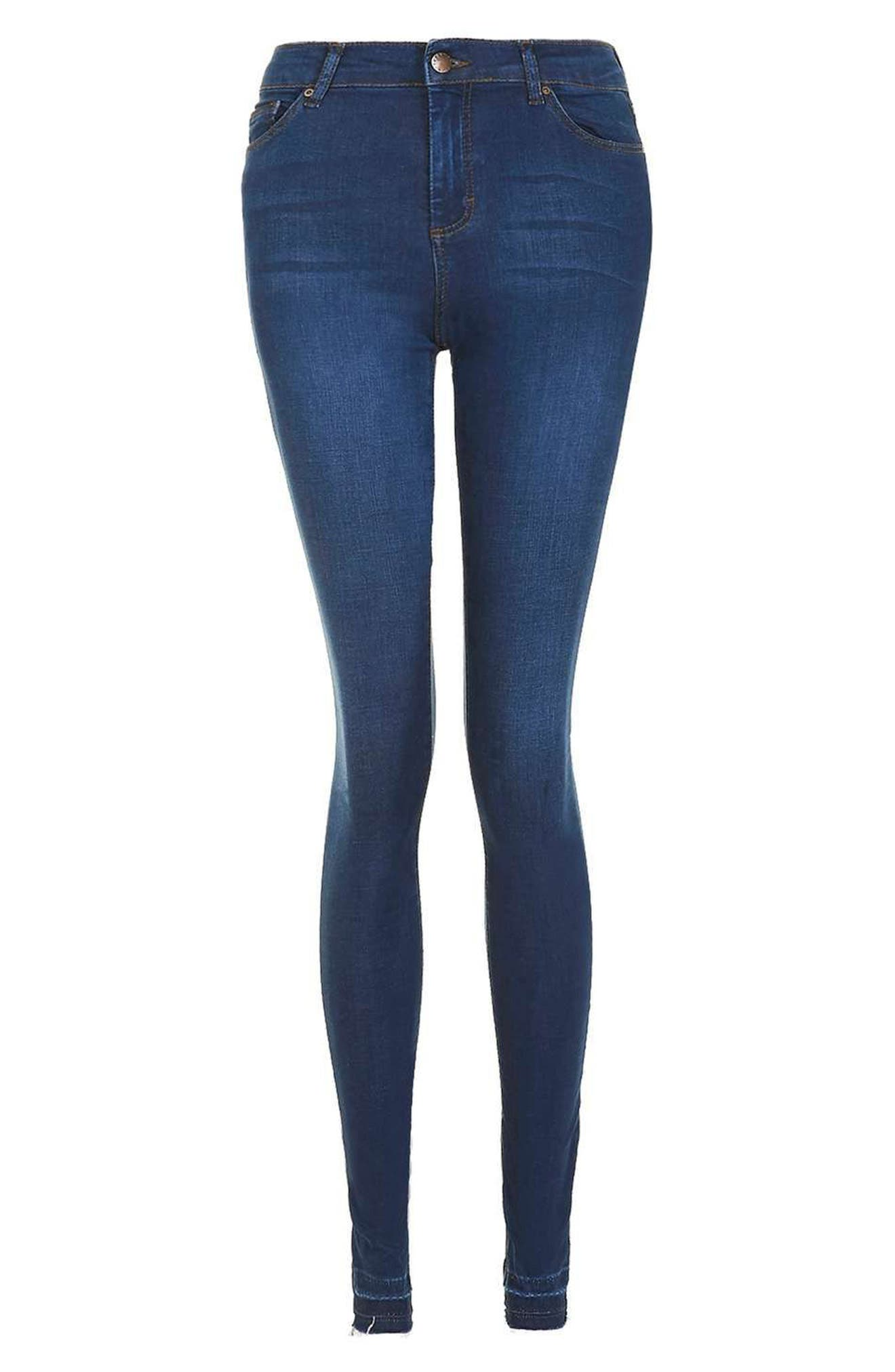 Leigh Release Hem Skinny Jeans,                             Alternate thumbnail 3, color,                             Indigo