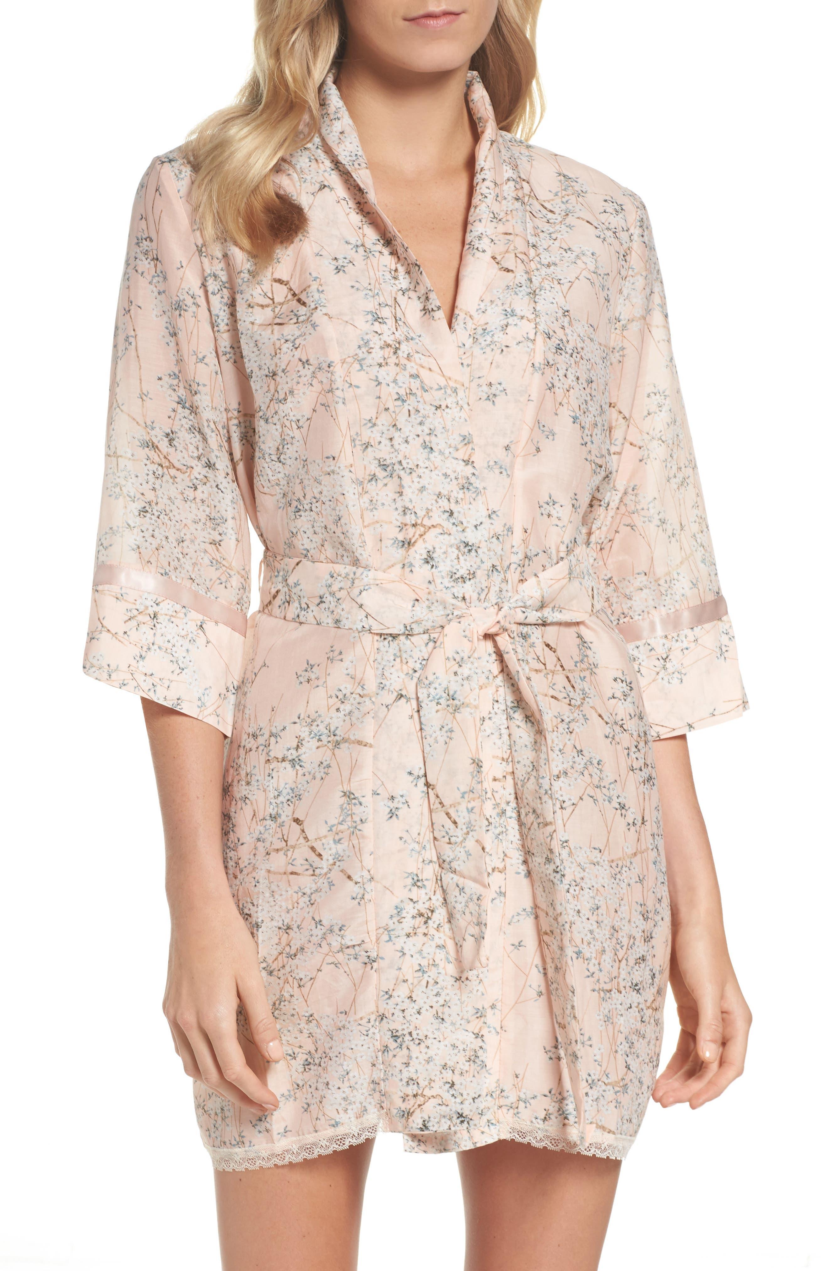 Cherry Blossom Cotton & Silk Short Robe,                         Main,                         color, Pink