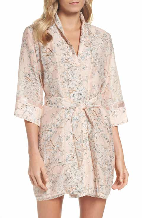 Papinelle Cherry Blossom Cotton & Silk Short Robe