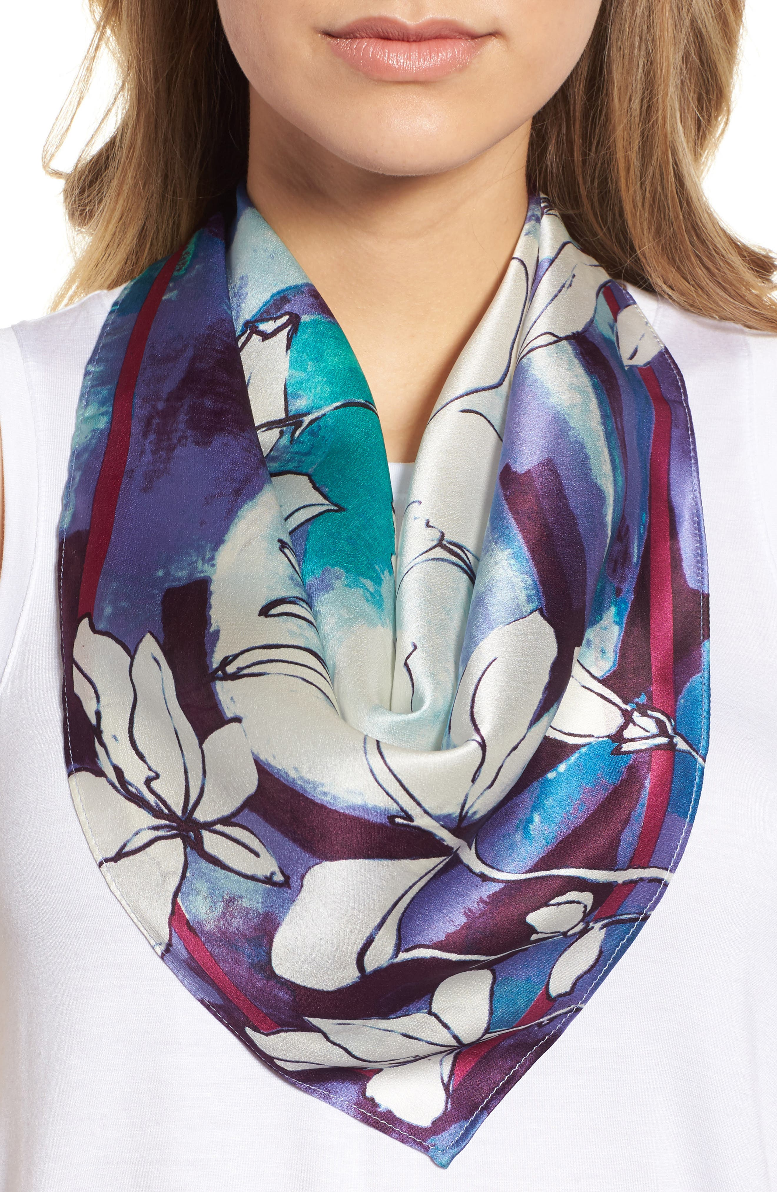 Print Silk Scarf,                             Main thumbnail 1, color,                             Purple Sketched Floral Print