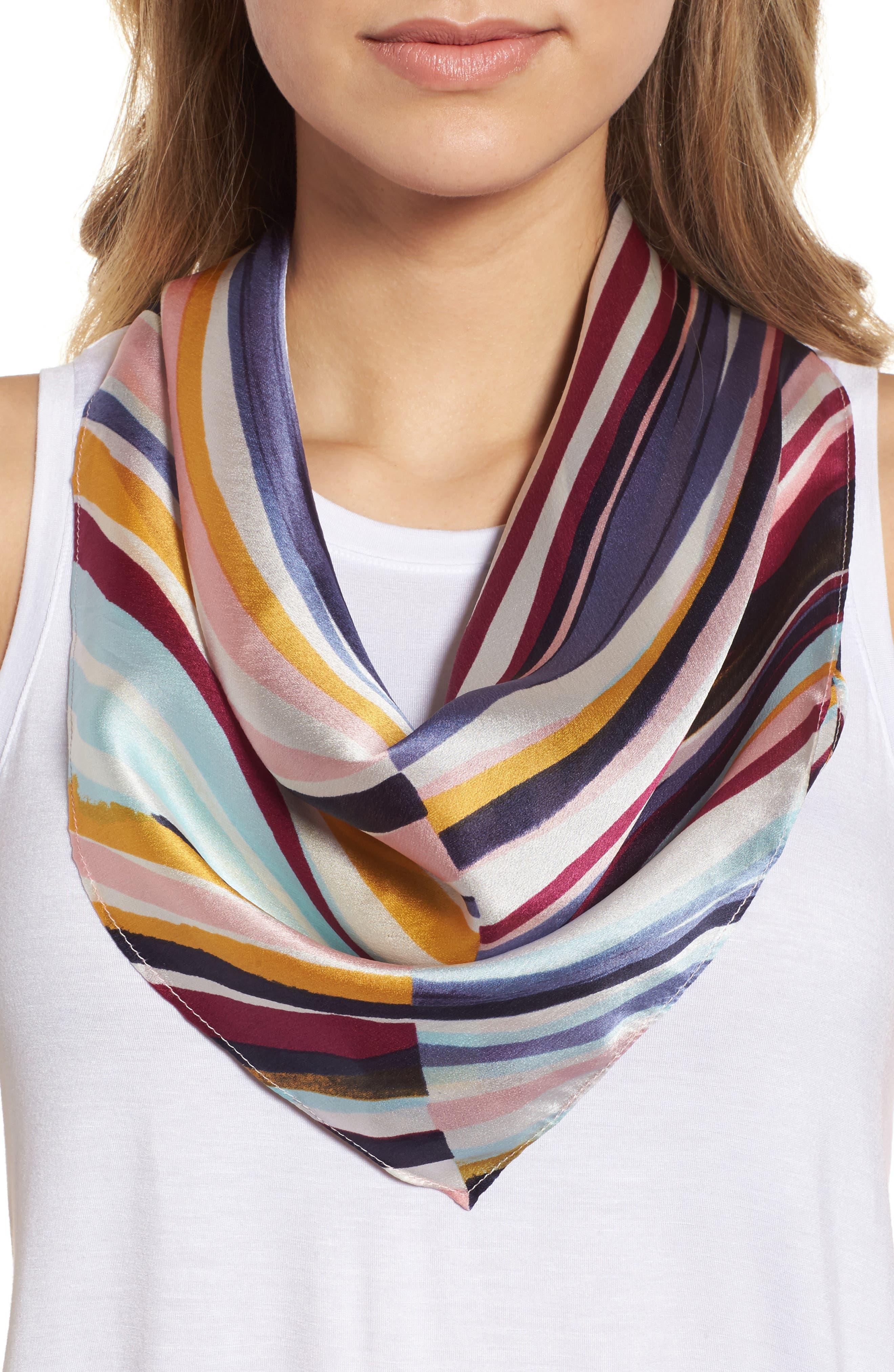 Print Silk Scarf,                             Main thumbnail 1, color,                             Purple Marker Mix Stripe Print