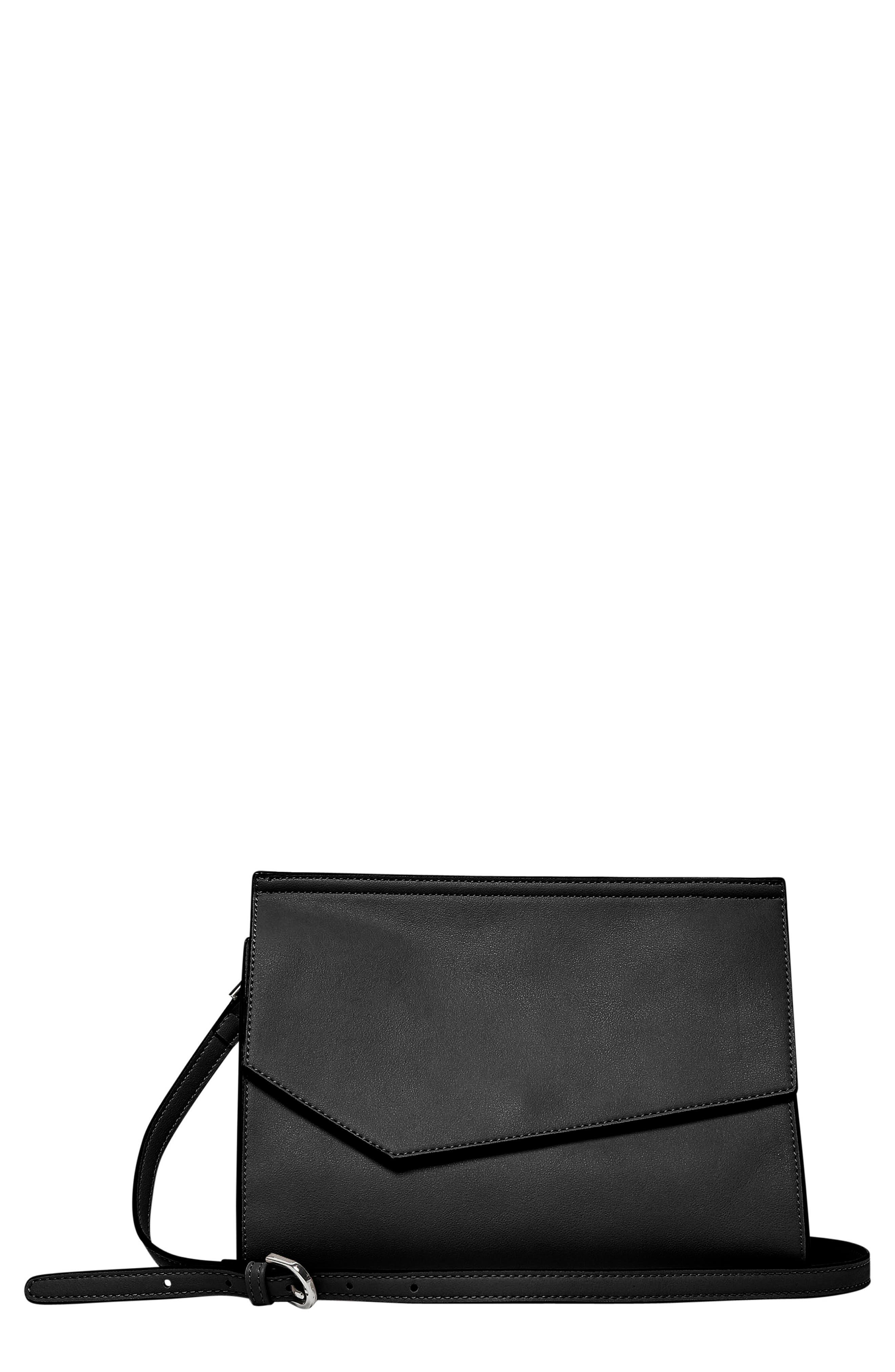 Shimmer Vegan Leather Shoulder Bag,                             Main thumbnail 1, color,                             Black
