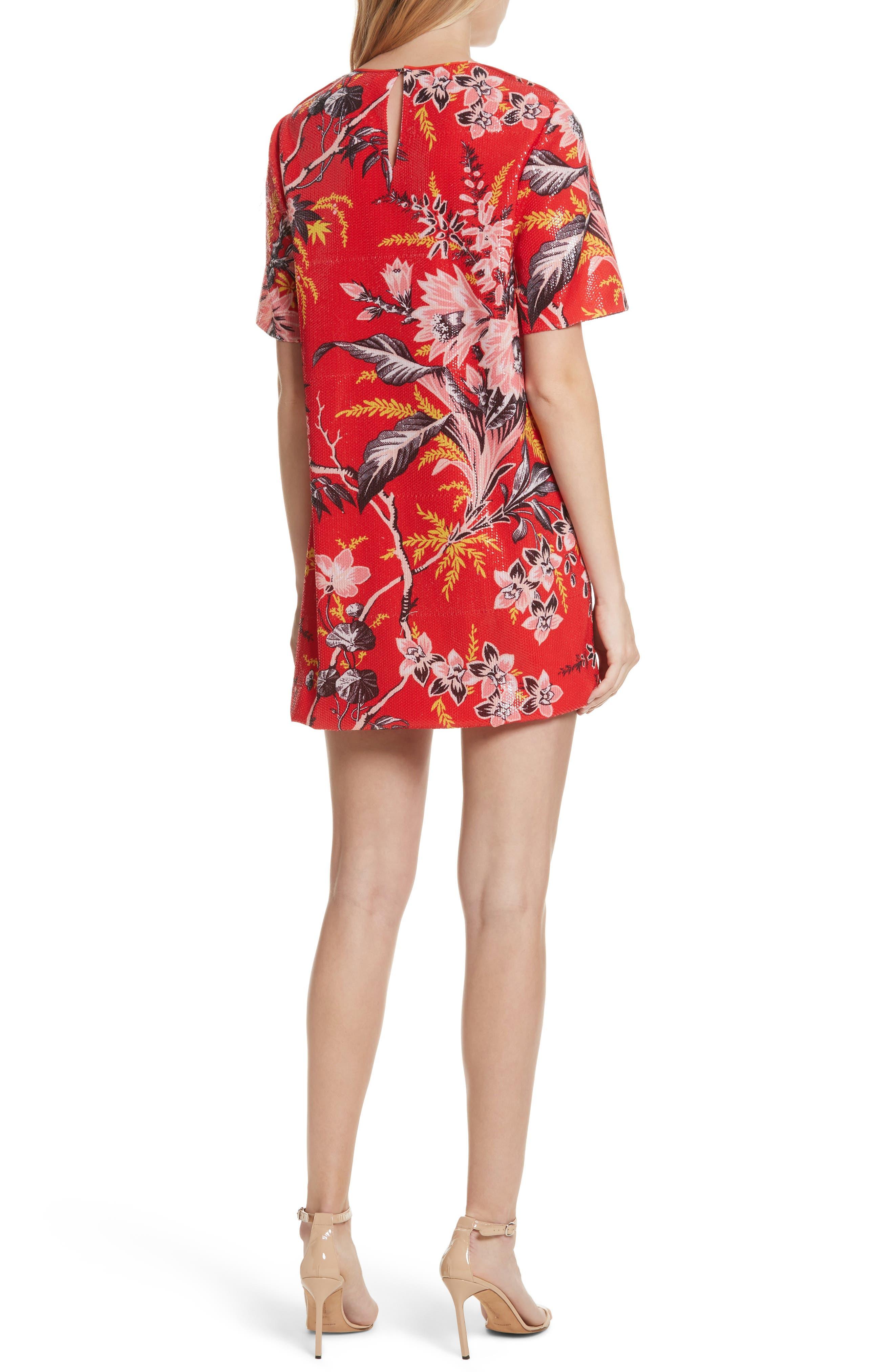 Diane von Furstenberg Fluid Sequin Minidress,                             Alternate thumbnail 2, color,                             Avalon Poppy