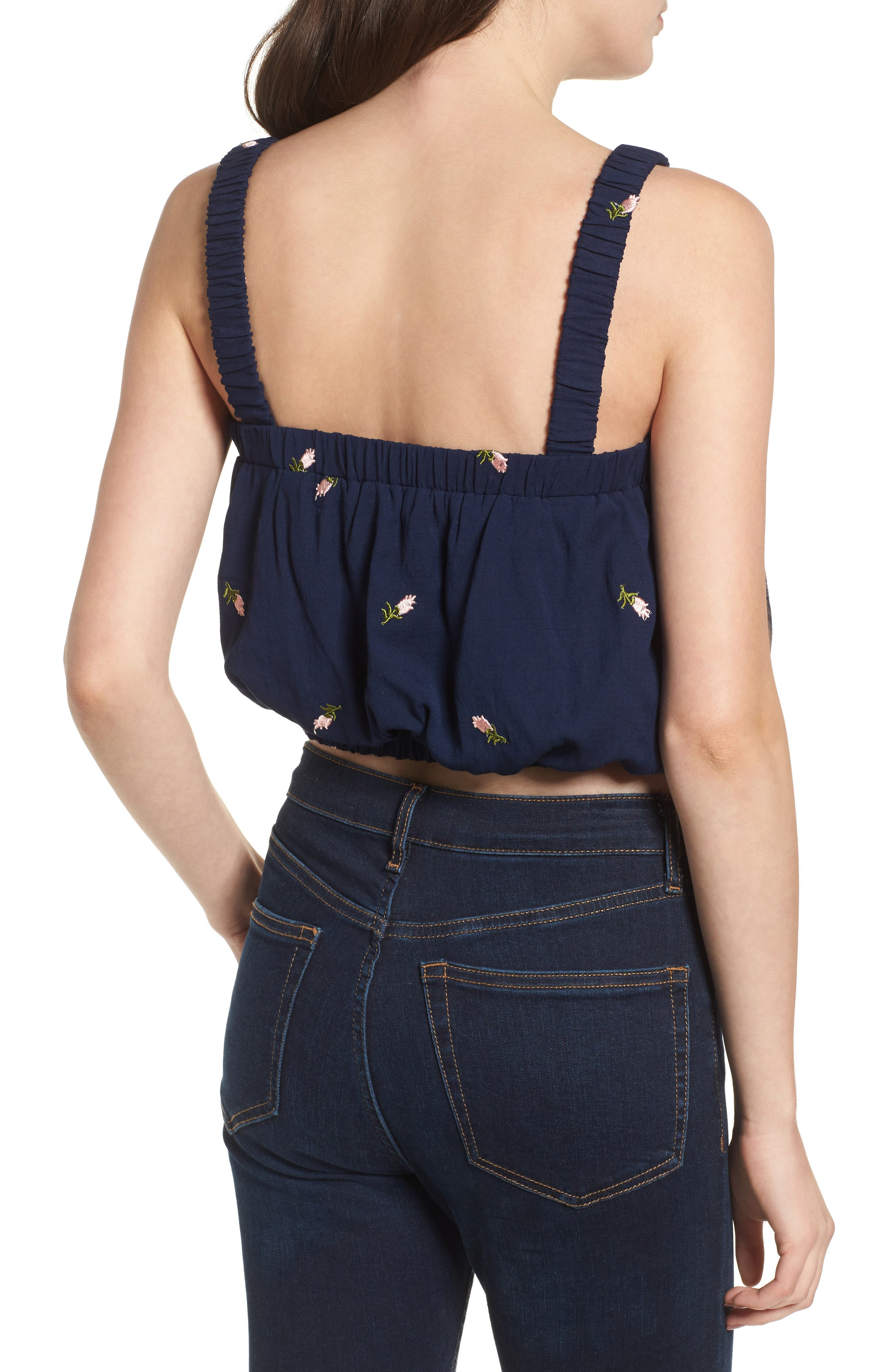 Embroidered Crop Top,                             Alternate thumbnail 2, color,                             Navy