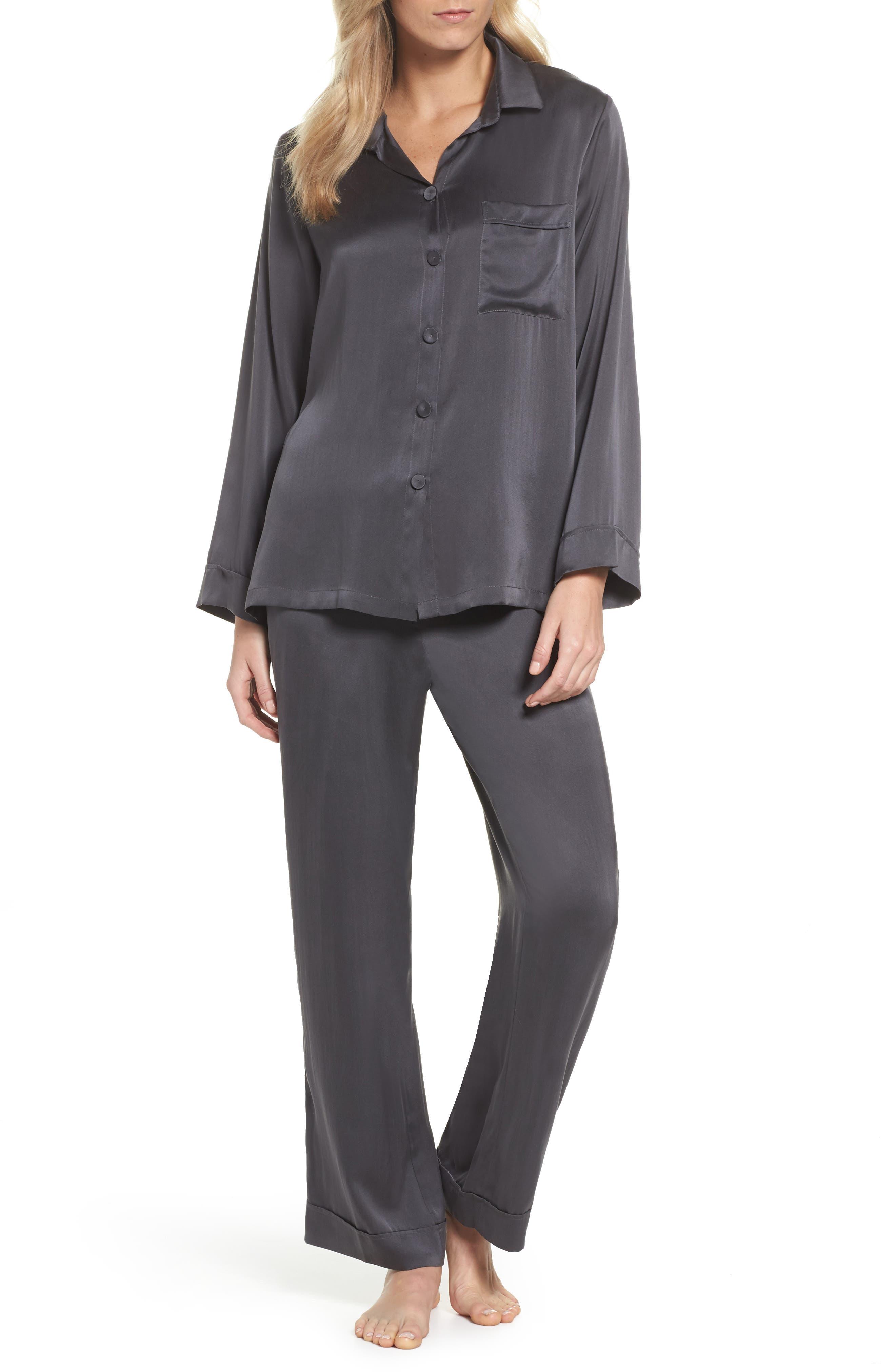 Silk Pajamas,                         Main,                         color, Dark Slate