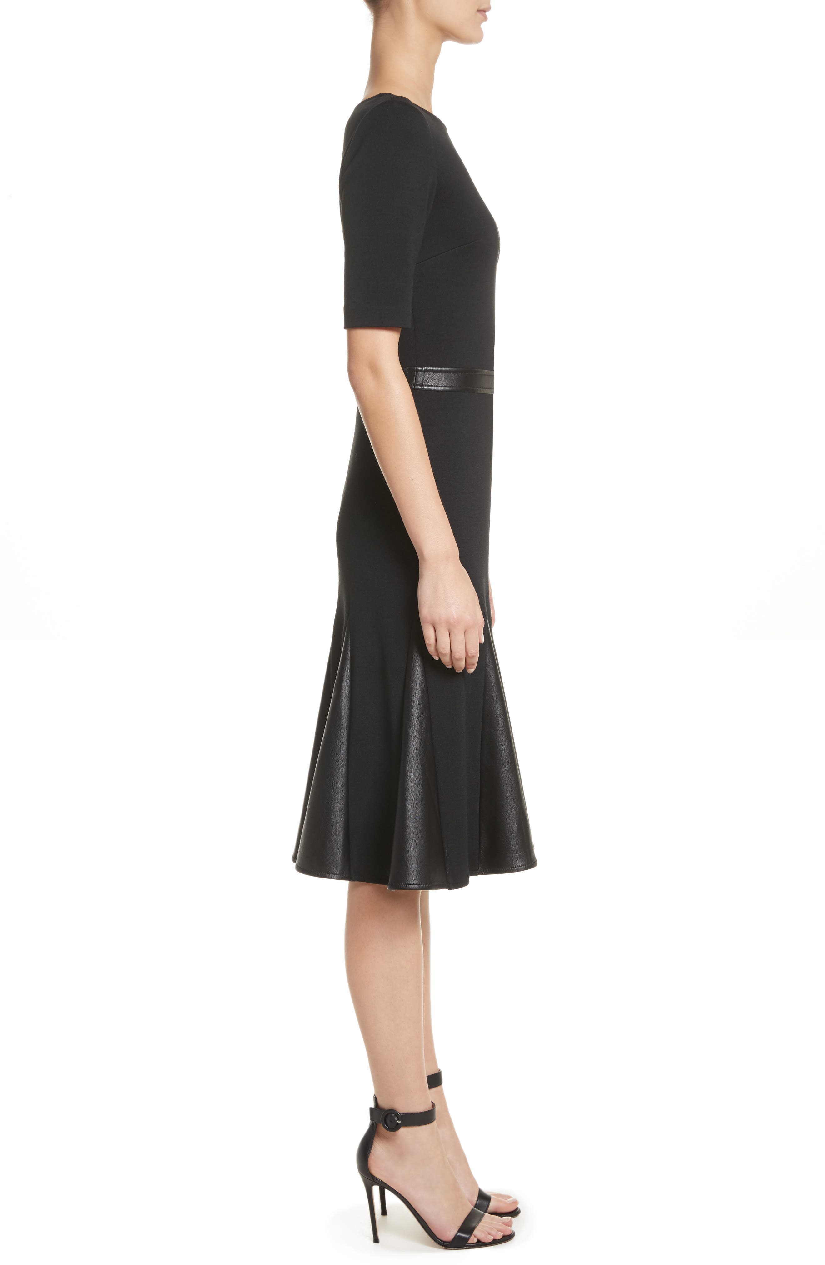 Alternate Image 3  - St. John Collection Pleated Milano Knit & Leather Dress