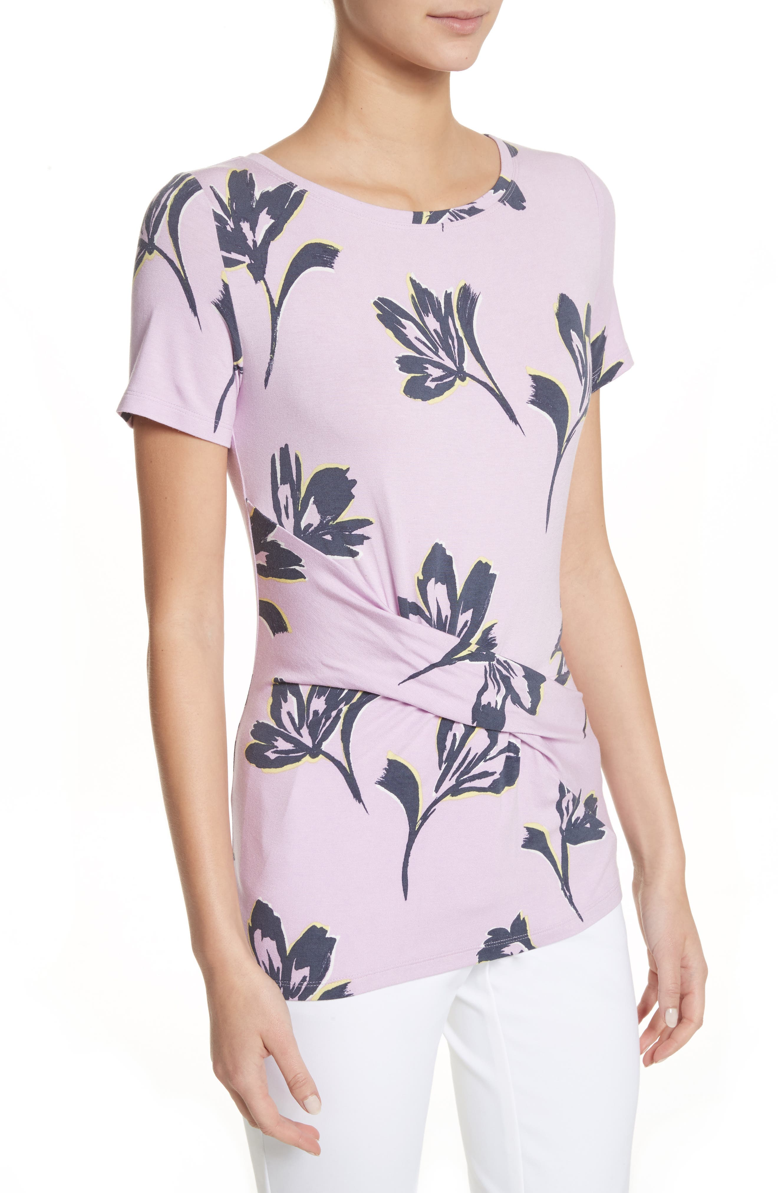 Falling Flower Print Jersey Tee,                             Alternate thumbnail 4, color,                             Orchid Multi
